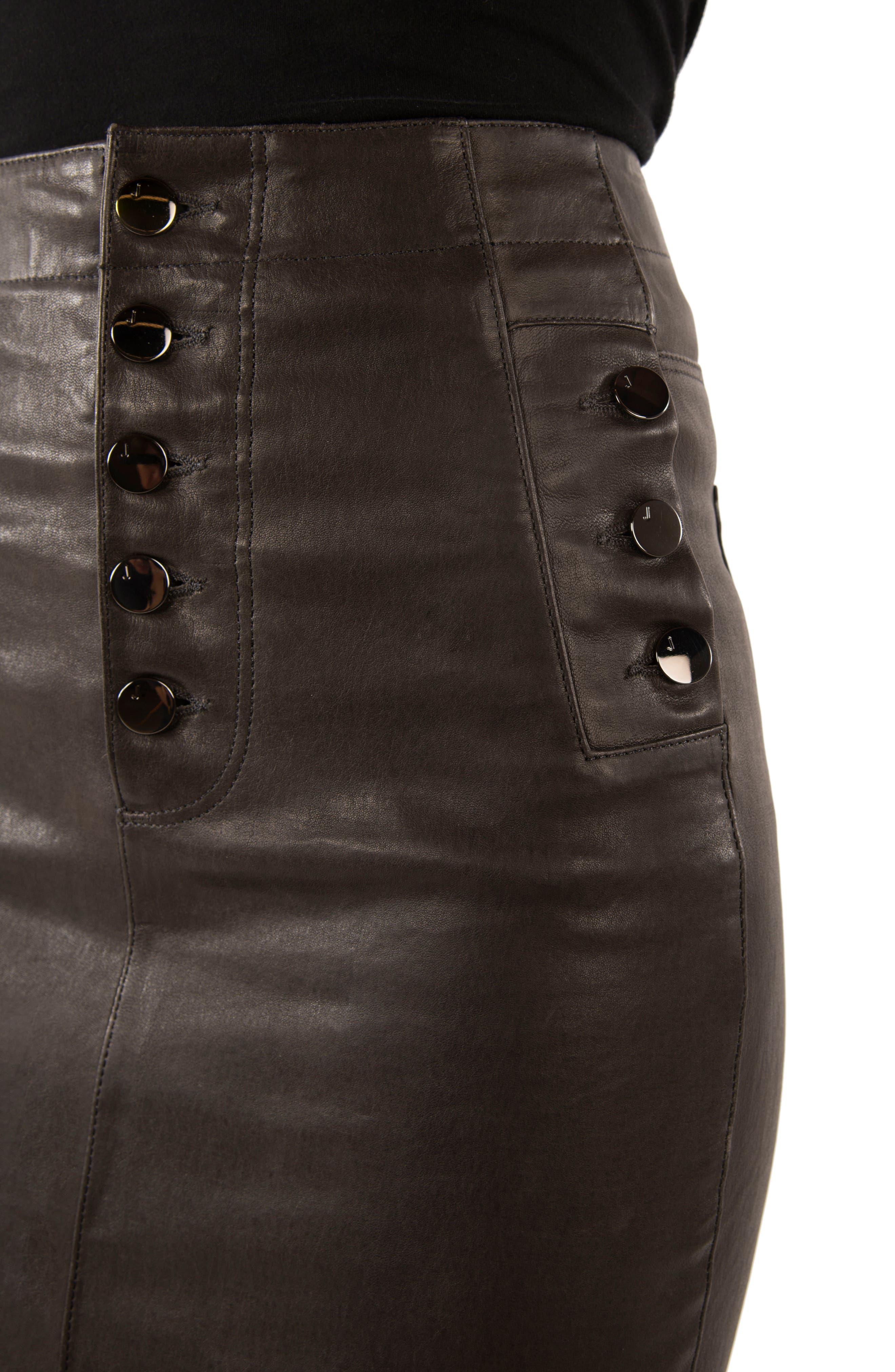 Natasha High Waist Leather Skirt,                             Alternate thumbnail 4, color,                             Dark Platinum