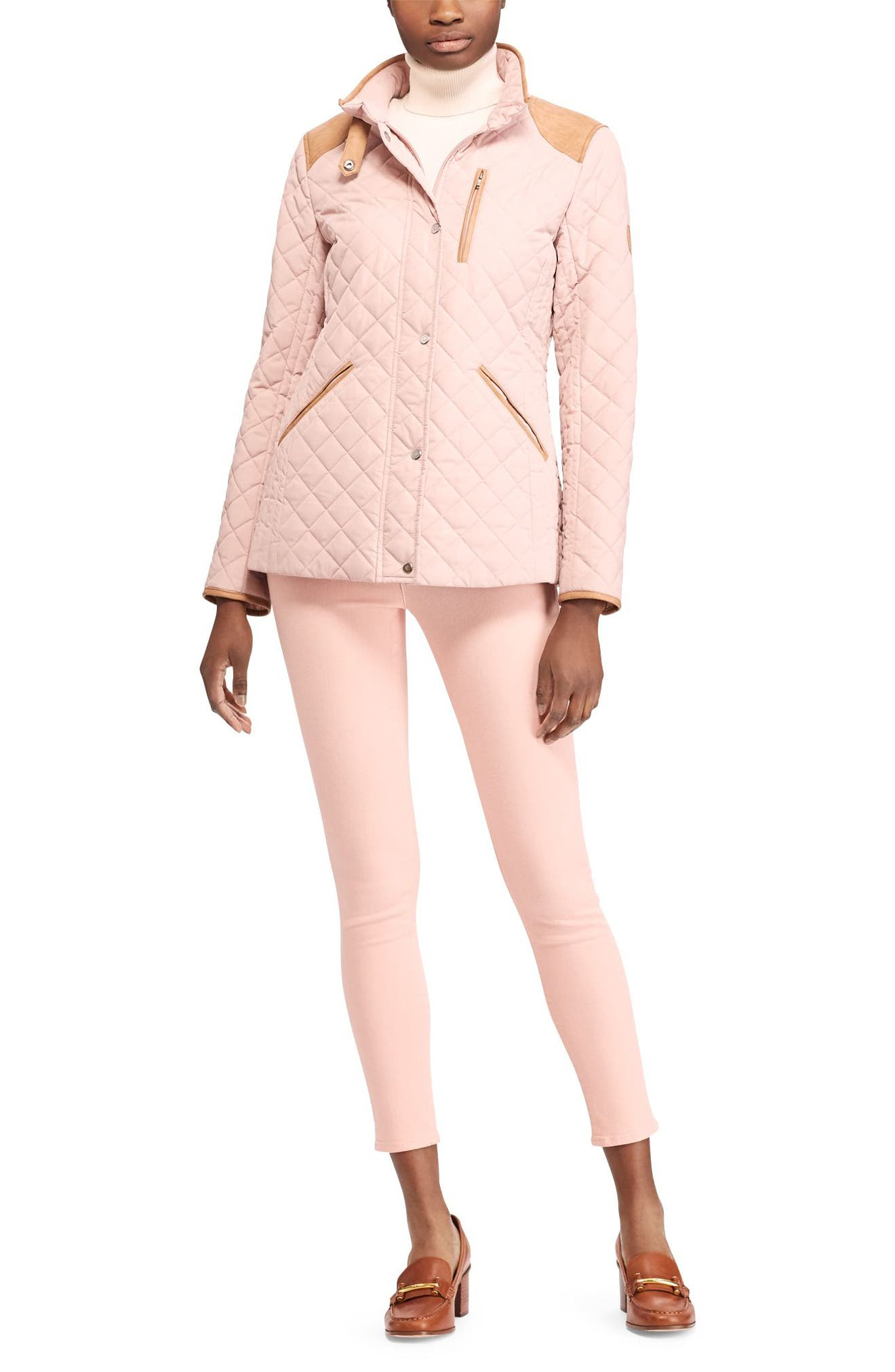 Faux Leather Trim Quilted Jacket,                             Alternate thumbnail 3, color,                             English Blush