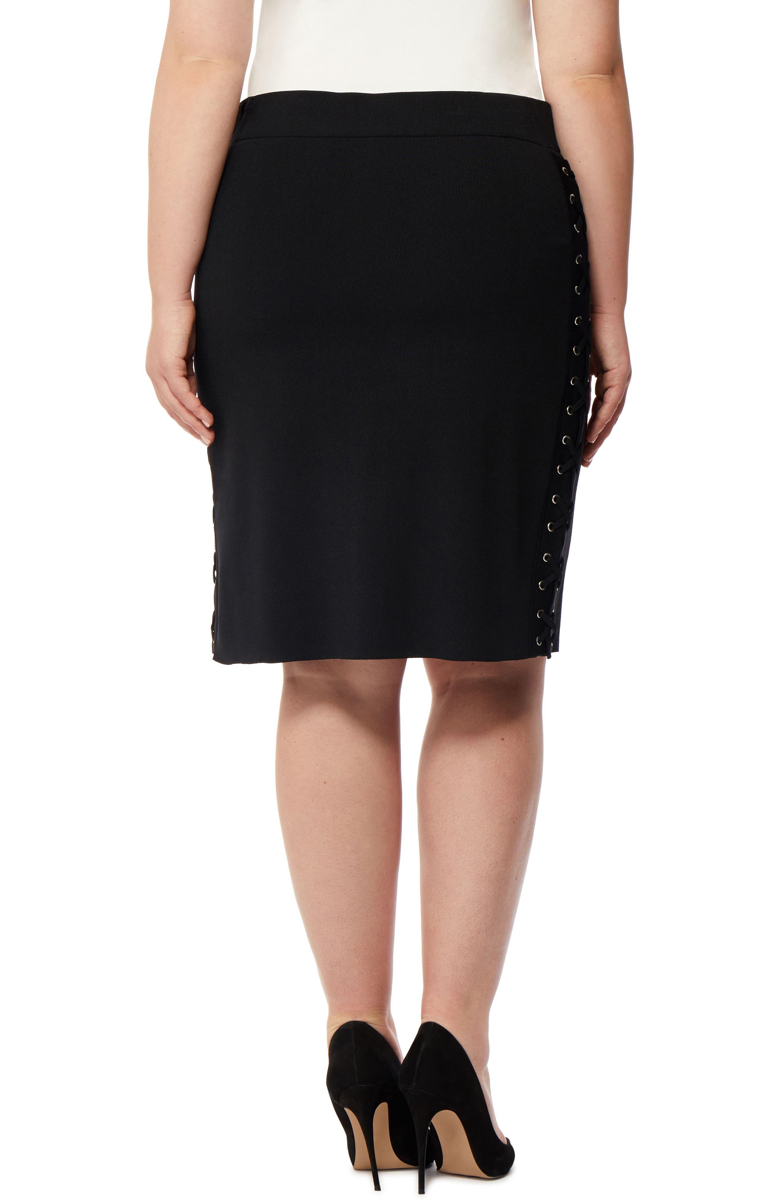 Lace-Up Skirt,                             Alternate thumbnail 2, color,                             Black