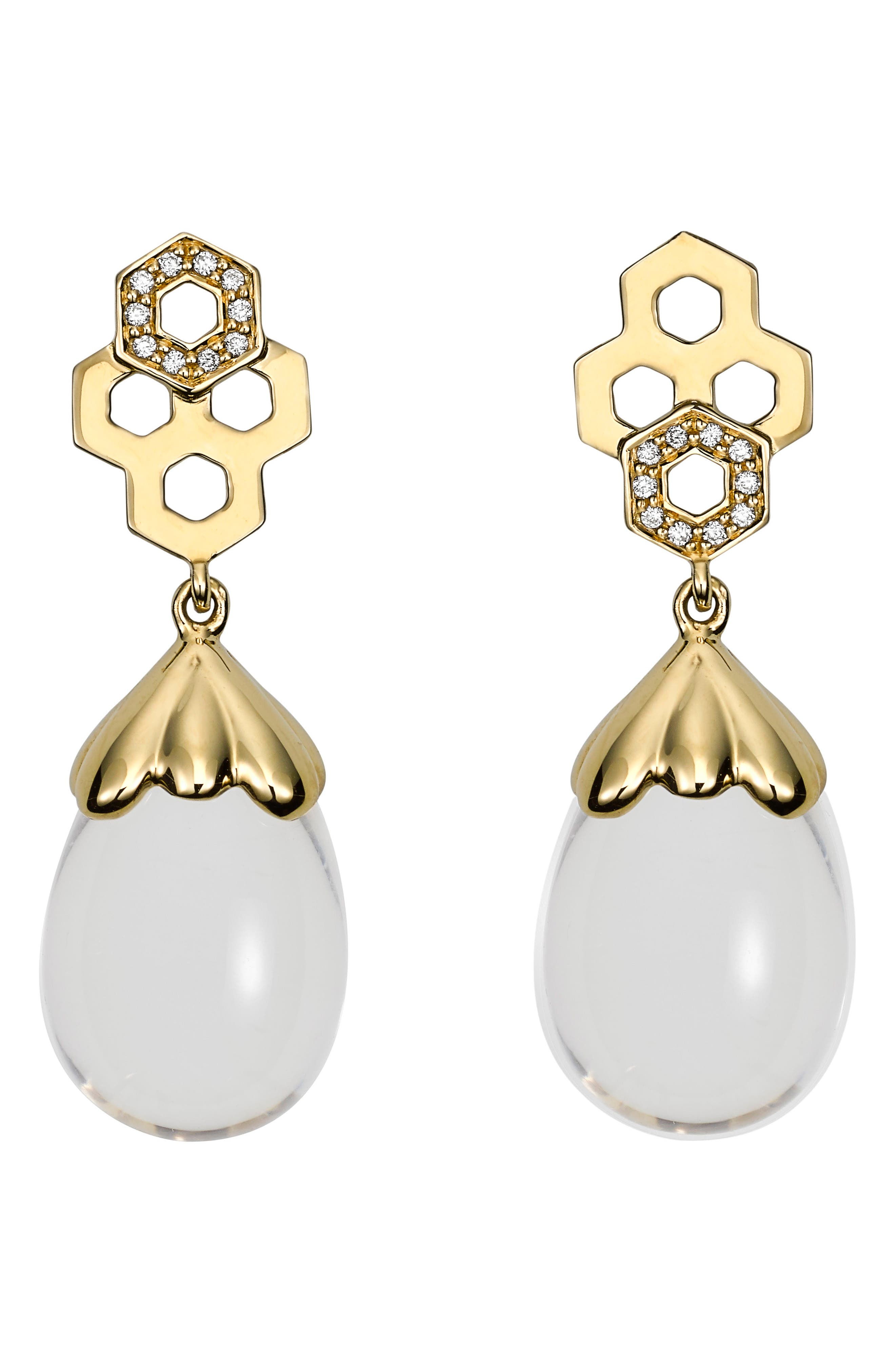 TEMPLE ST CLAIR Beehive Amulet Diamond Pavé Earrings