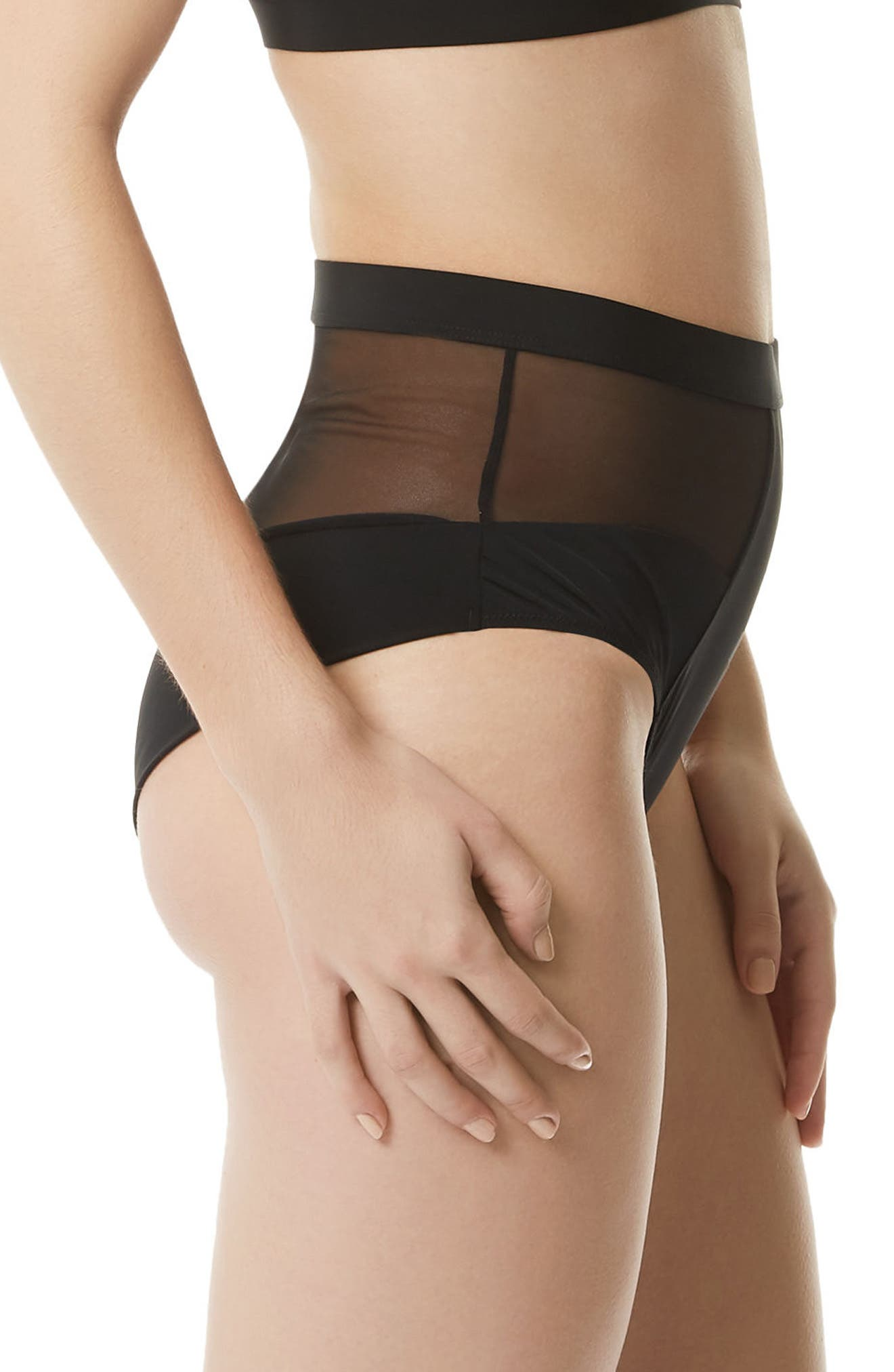 Reed High Waist Briefs,                             Alternate thumbnail 3, color,                             Black
