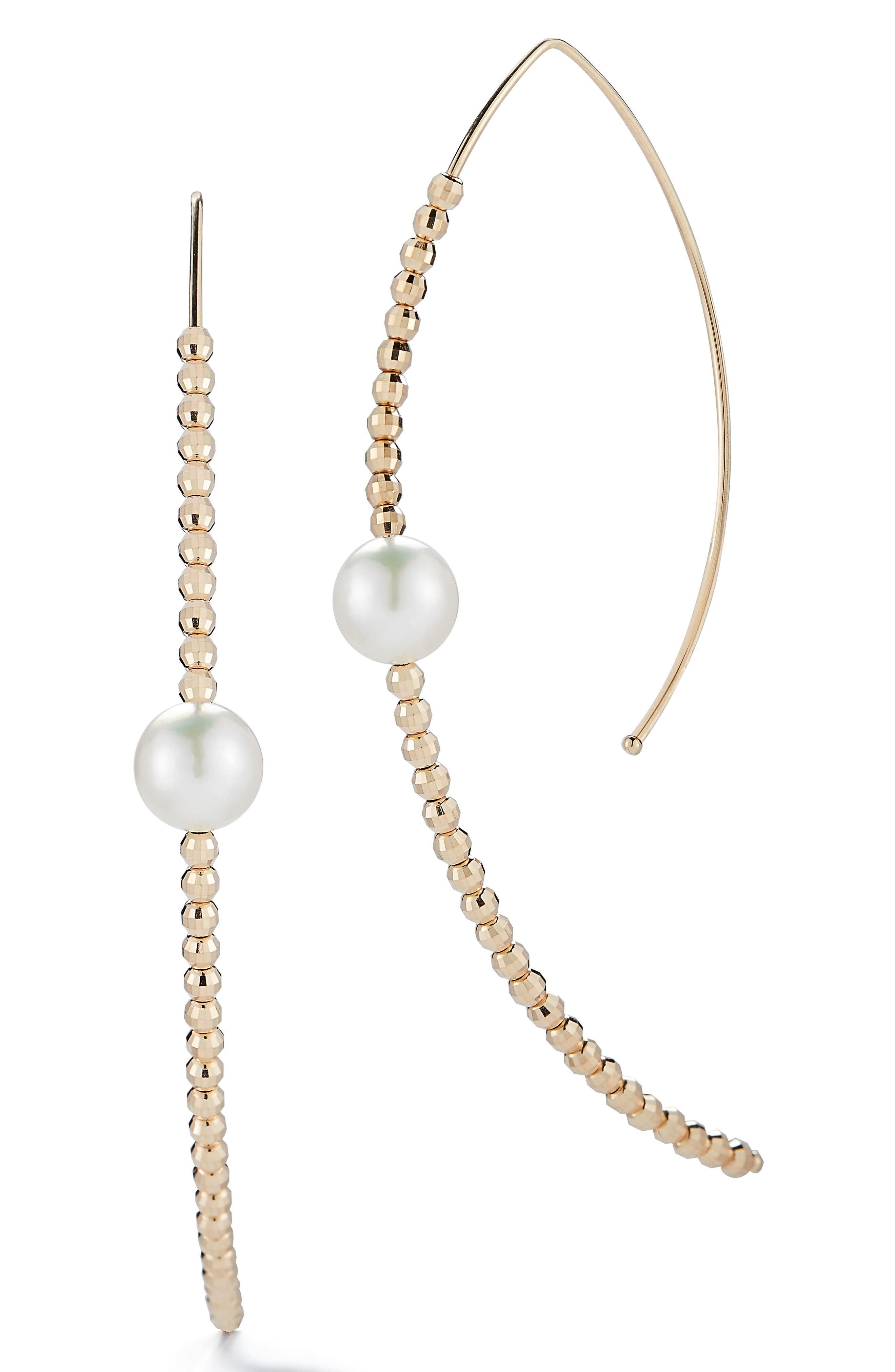 Gold Bead and Genuine Pearl Marquise Hoop Earrings,                             Main thumbnail 1, color,                             Yellow Gold