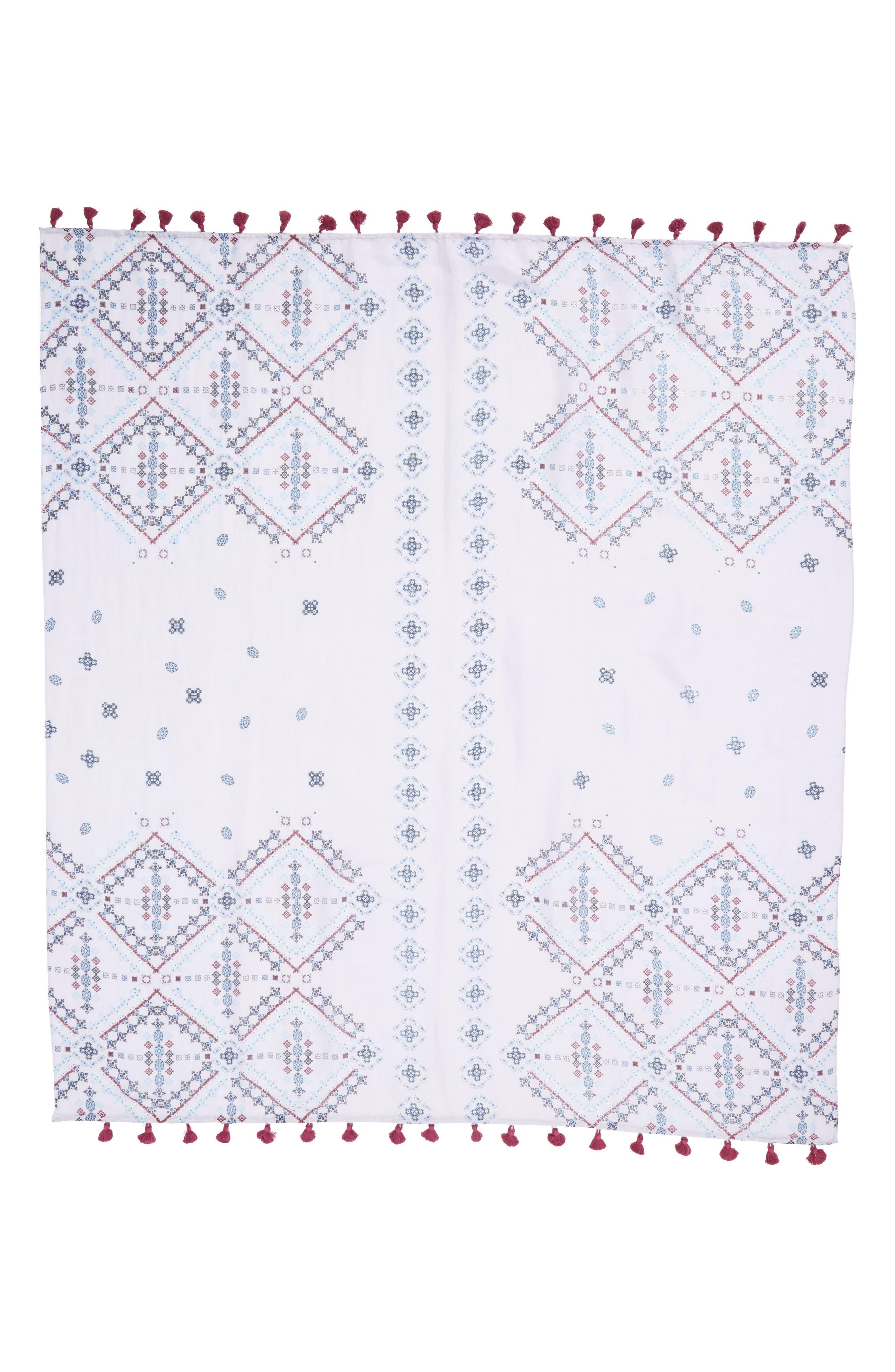 Tassel Scarf,                             Alternate thumbnail 3, color,                             Purple Vintage Tapestry