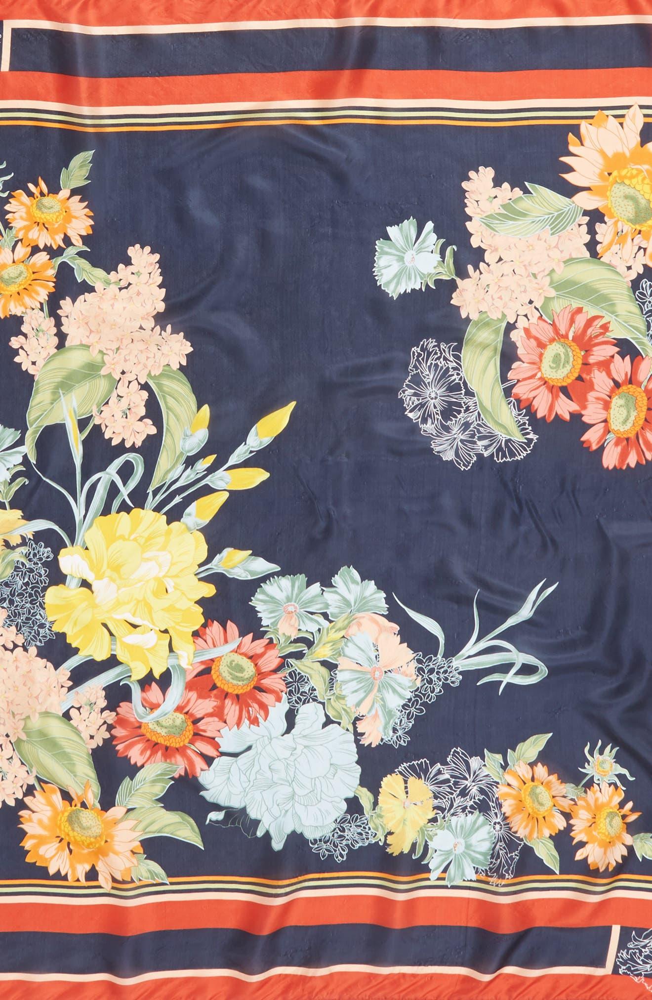 Avery Tassel Silk Square Scarf,                             Alternate thumbnail 4, color,                             Multi