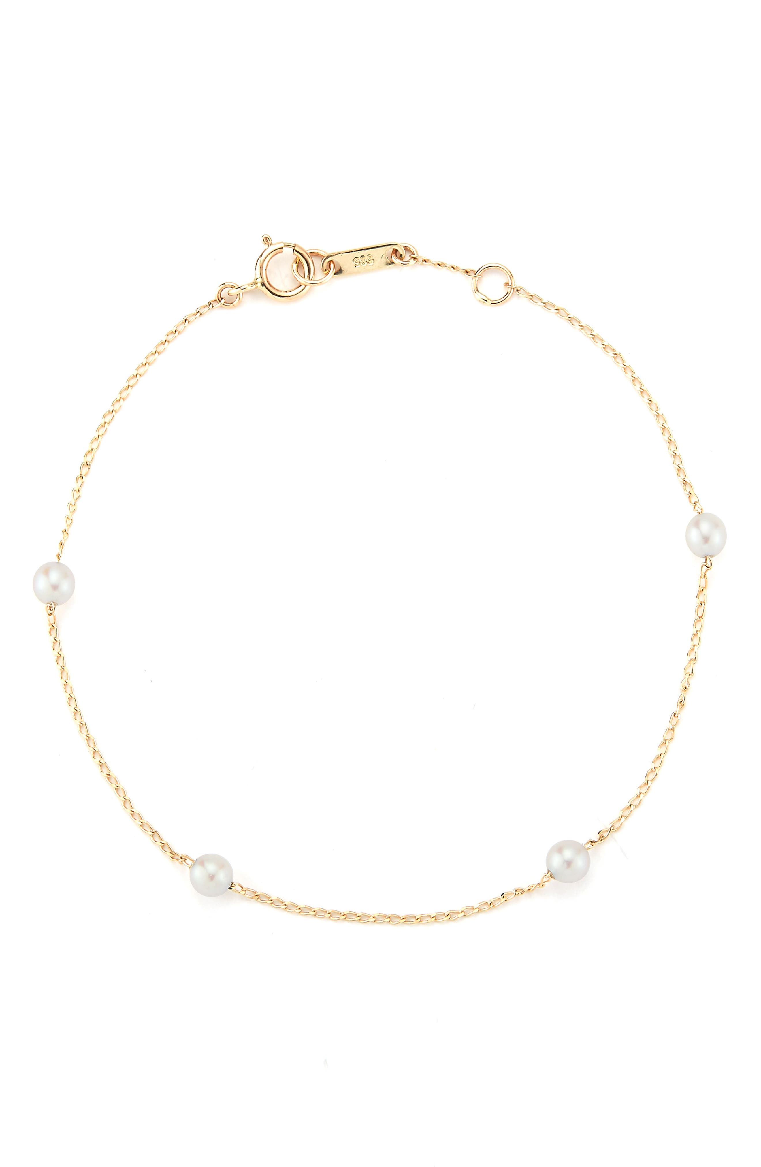Four-Pearl Station Bracelet,                             Main thumbnail 1, color,                             Yellow Gold/ Pearl