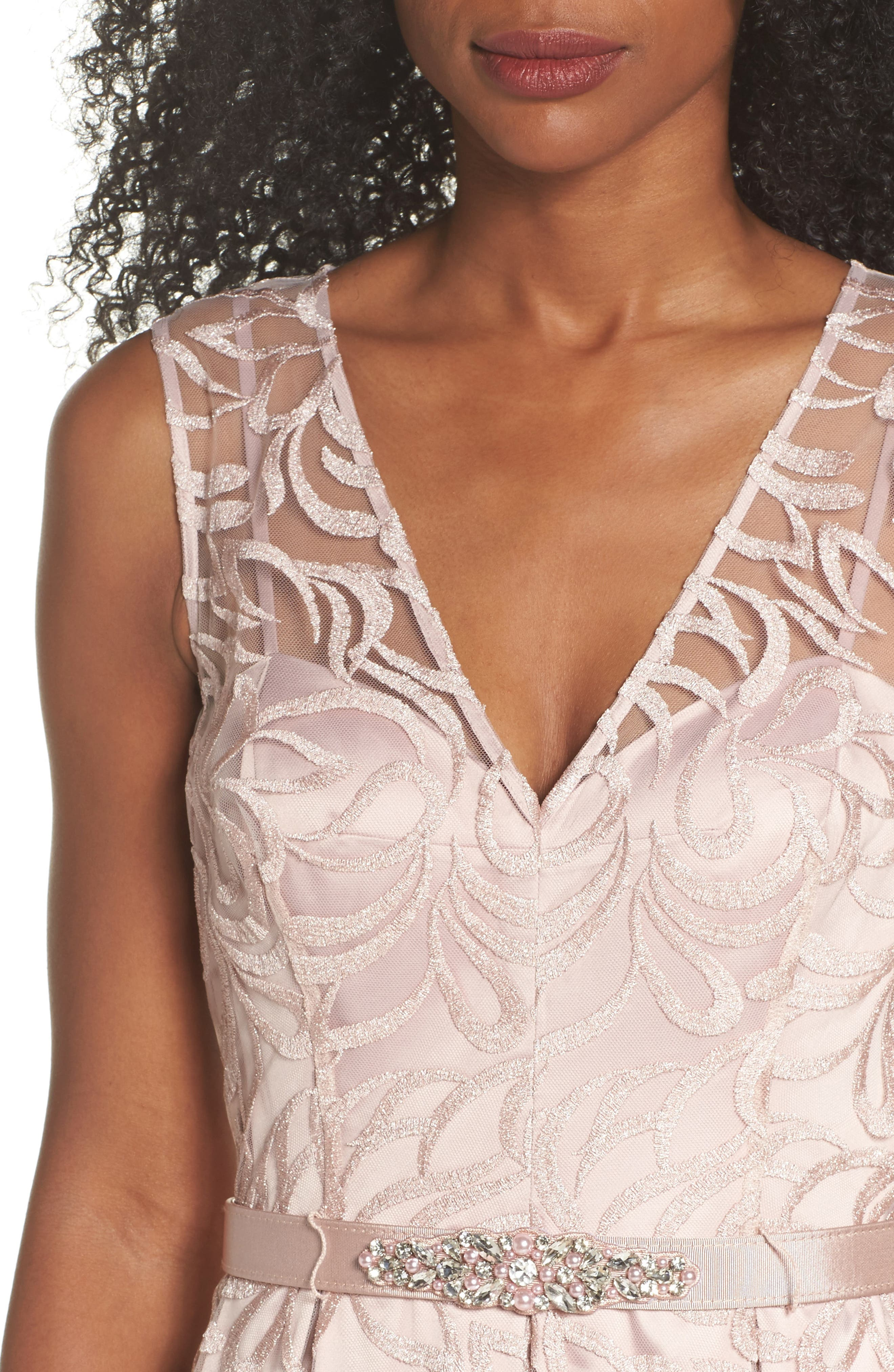 Belted Embroidered Gown,                             Alternate thumbnail 4, color,                             Blush