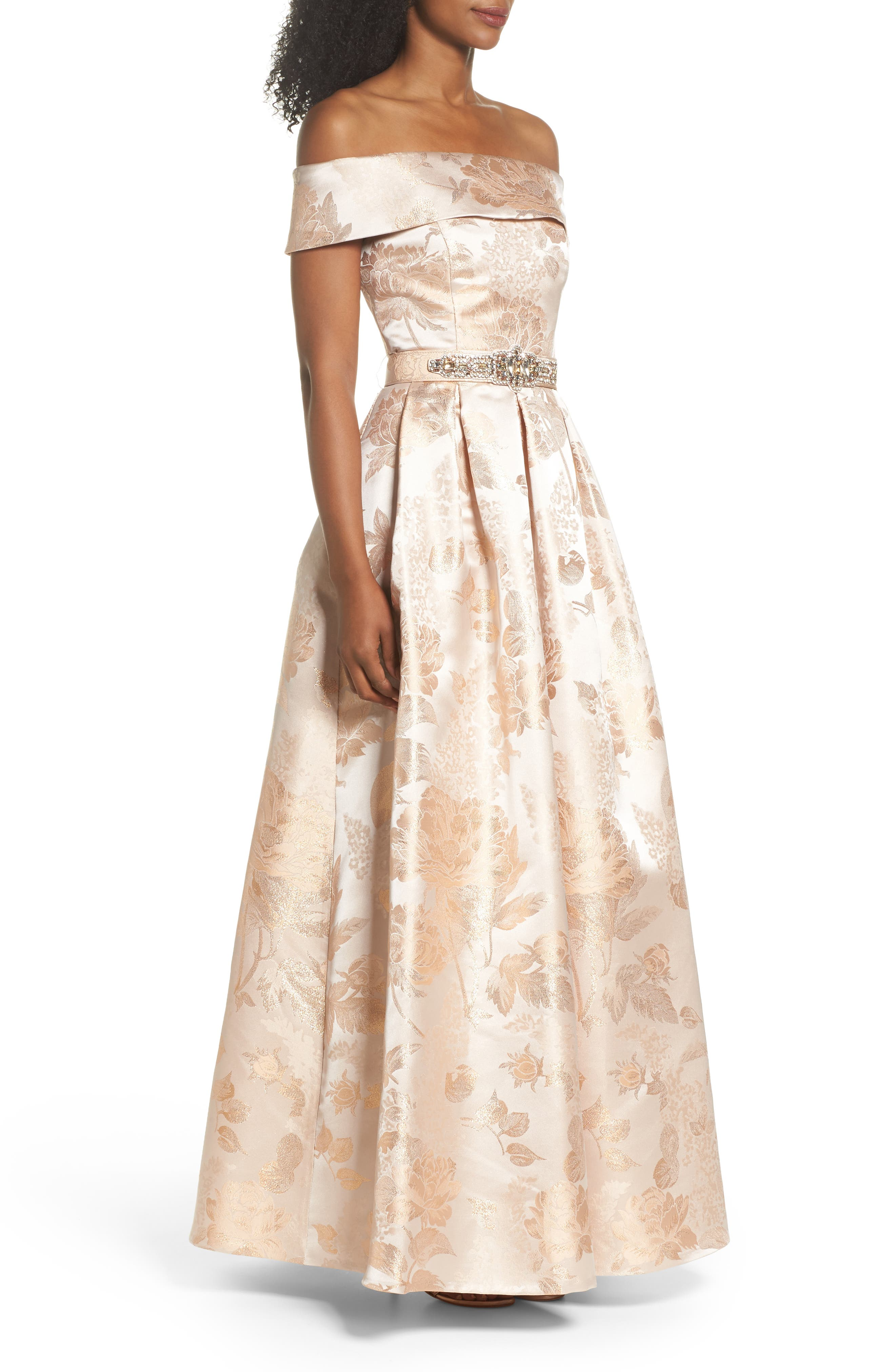 Belted Off the Shoulder Jacquard Ballgown,                             Alternate thumbnail 3, color,                             Champagne