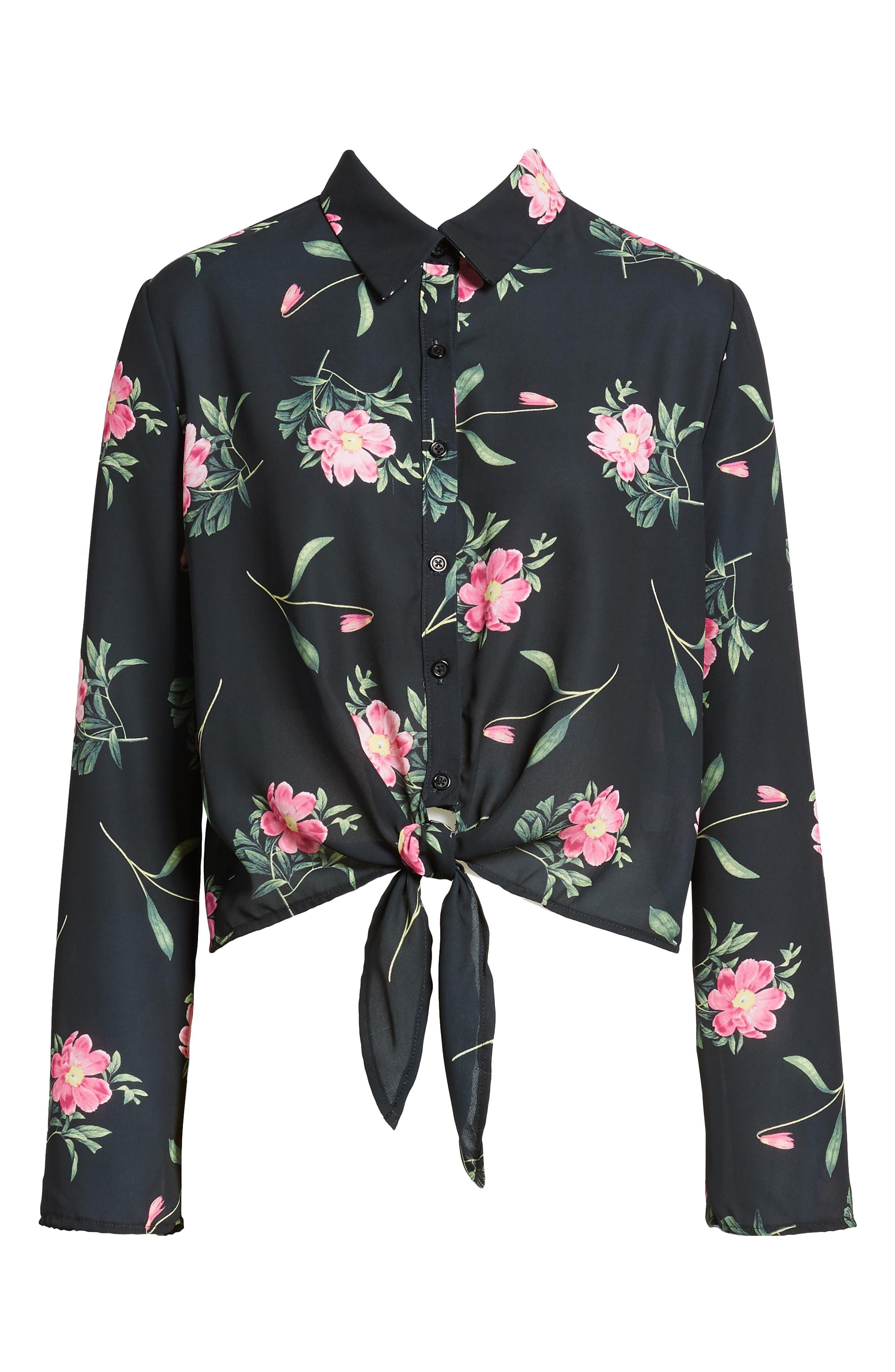 Tie Front Shirt,                             Alternate thumbnail 6, color,                             Black Floral