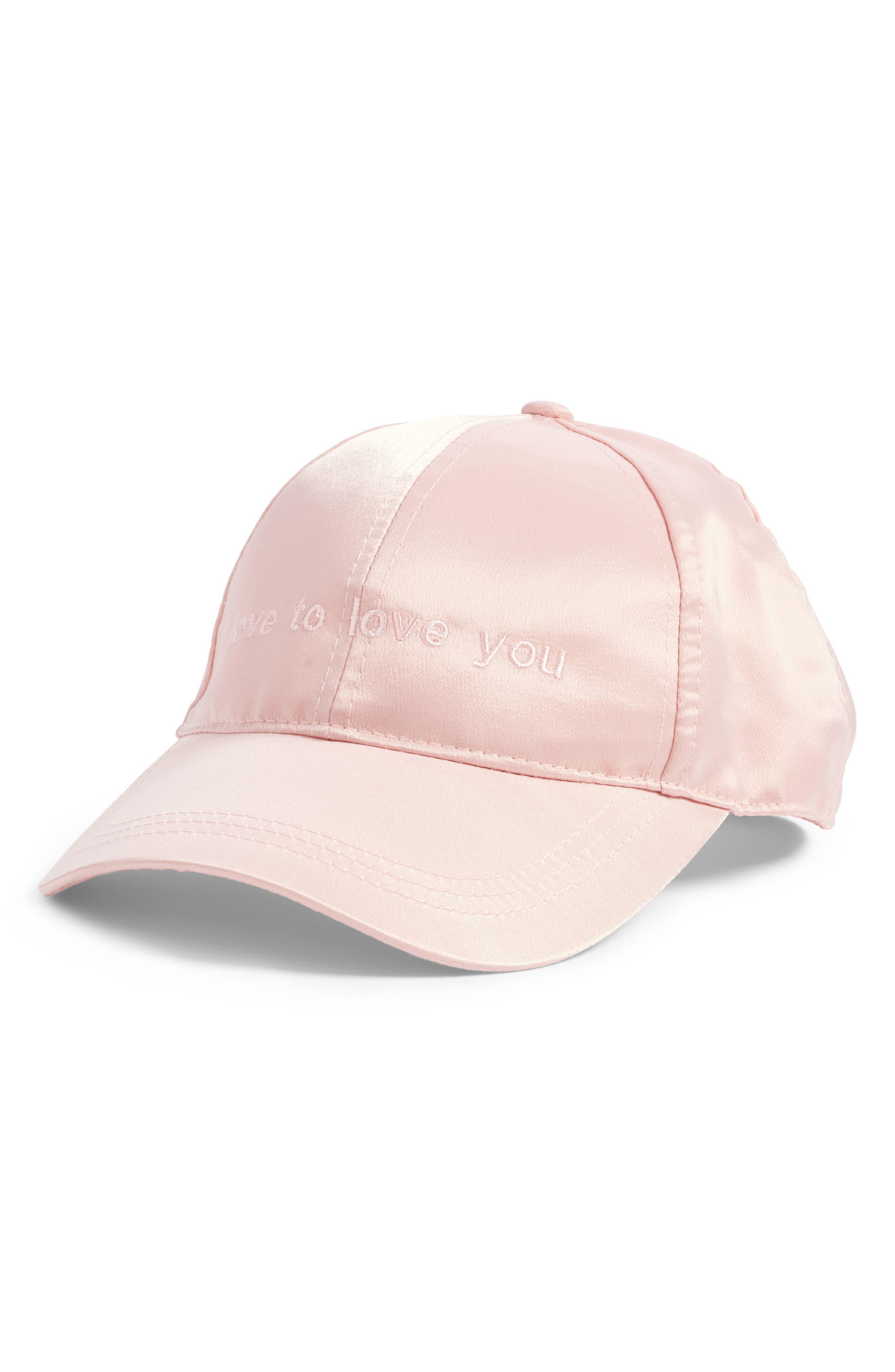 Embroidered Satin Baseball Cap,                         Main,                         color, Pink