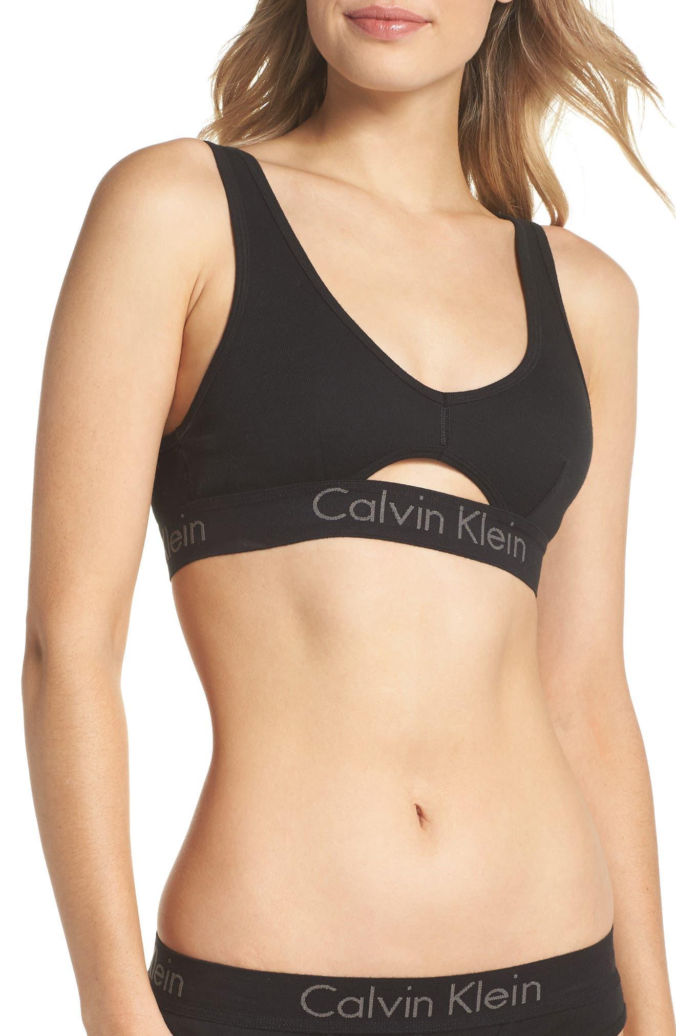 Body Cotton Bralette,                         Main,                         color, Black