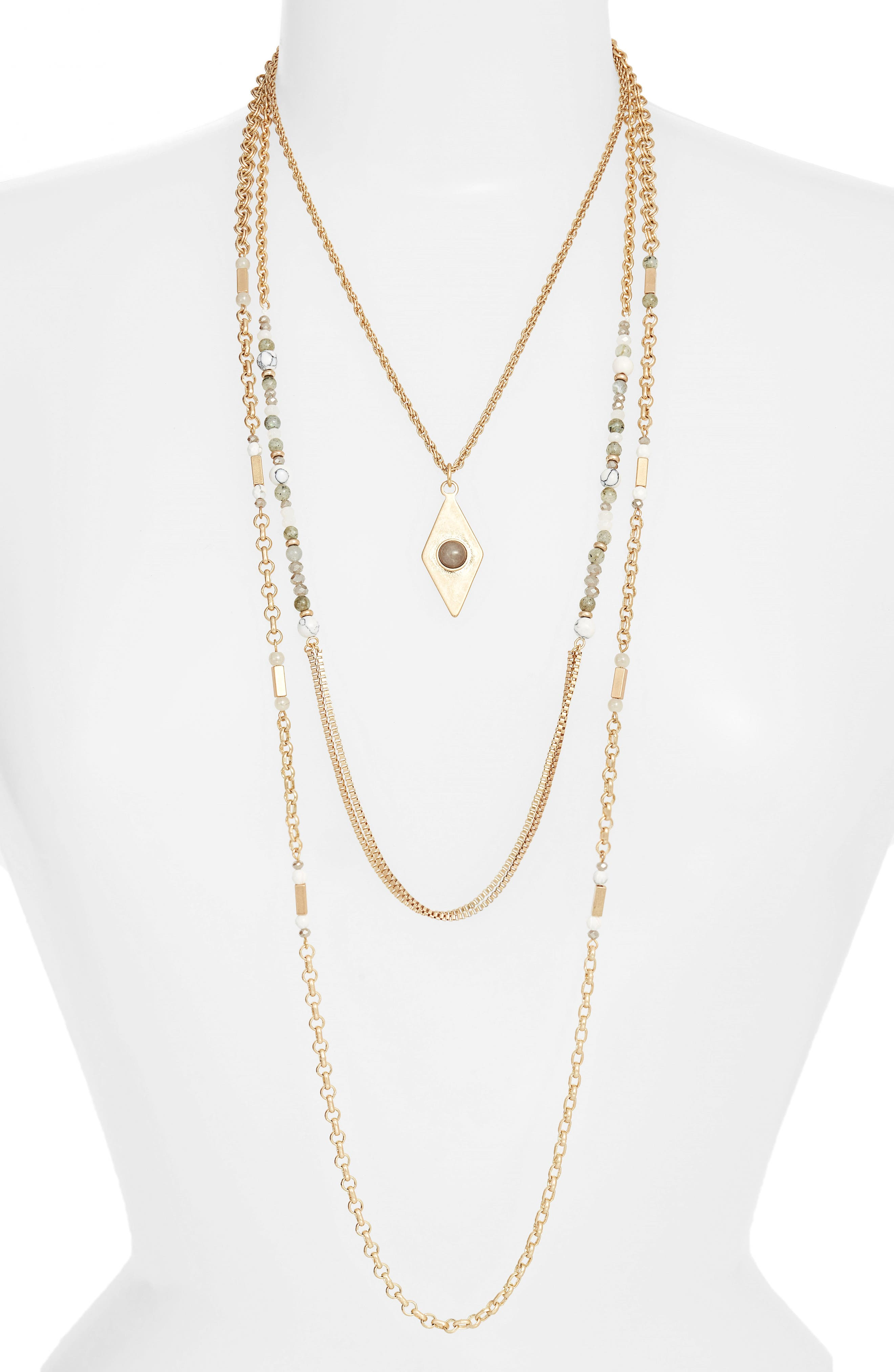 Multistrand Necklace,                         Main,                         color, Grey- Gold