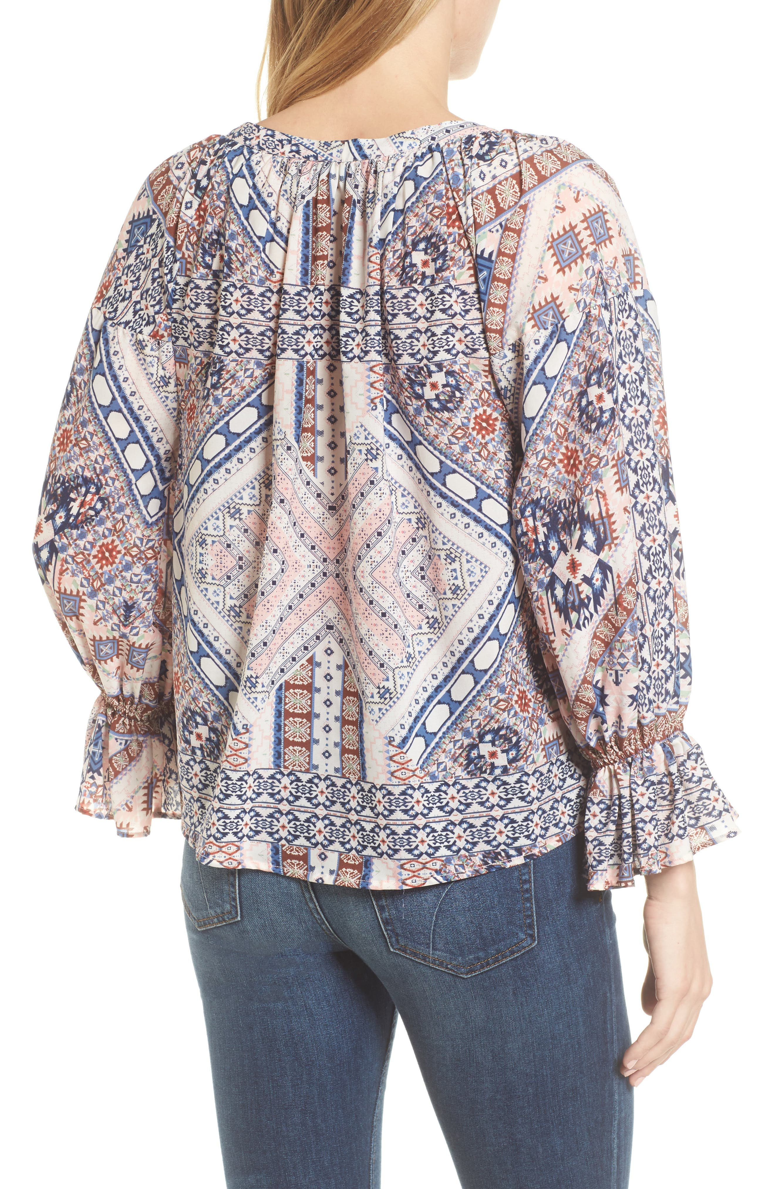 Belfast Ikat Peasant Blouse,                             Alternate thumbnail 2, color,                             Ikat Print