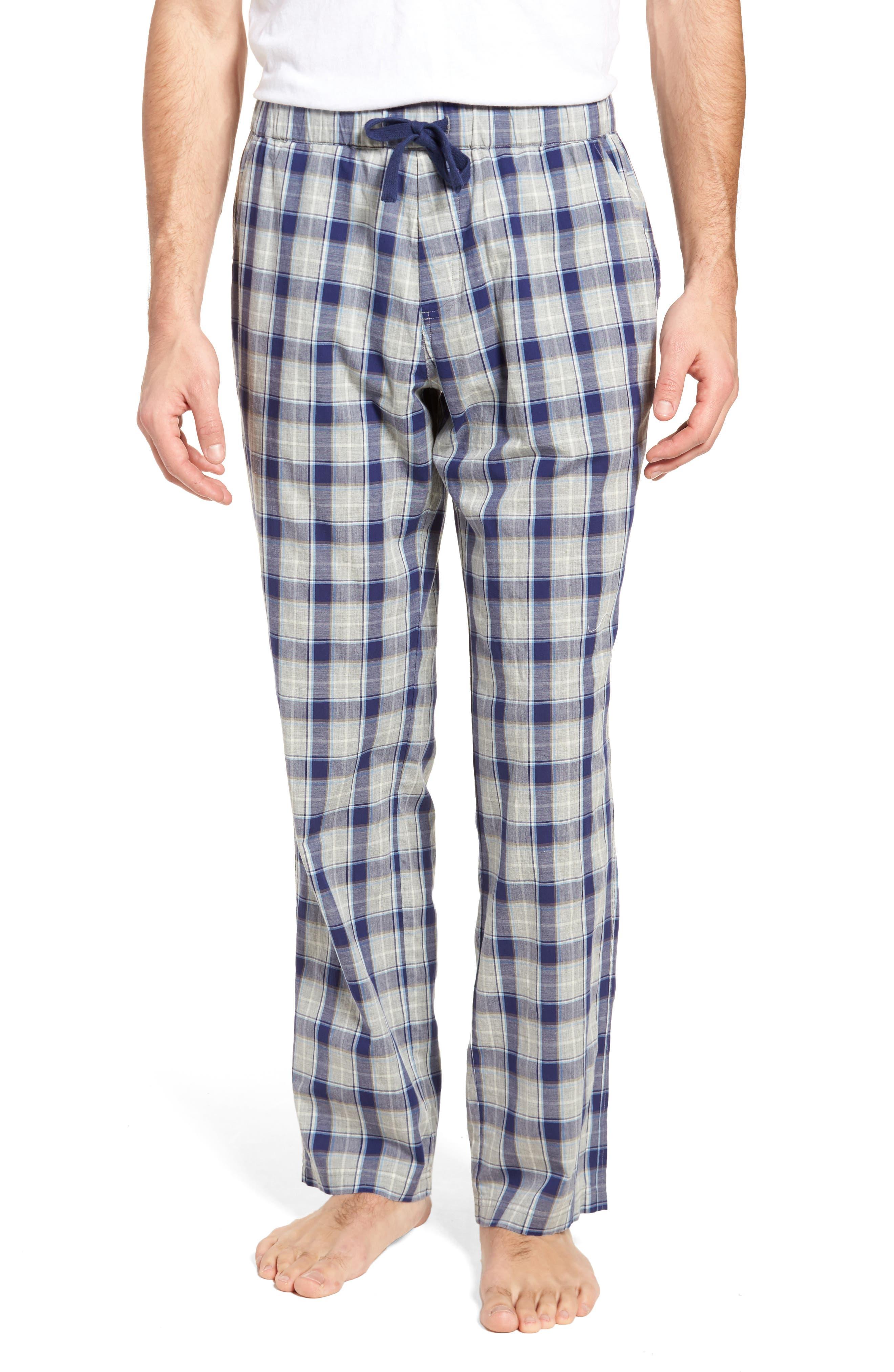 Flynn Plaid Cotton Lounge Pants,                         Main,                         color, Navy