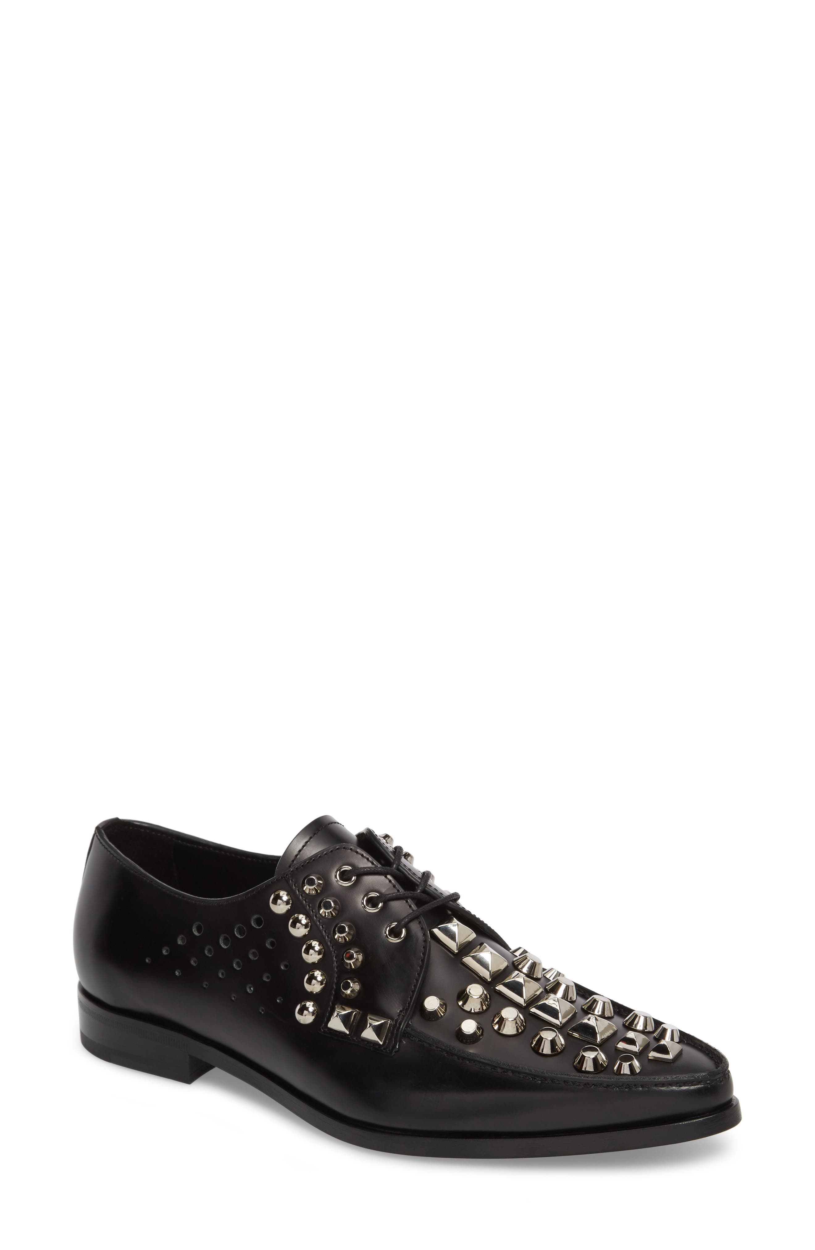 Studded Pointy Toe Oxford,                             Main thumbnail 1, color,                             Black
