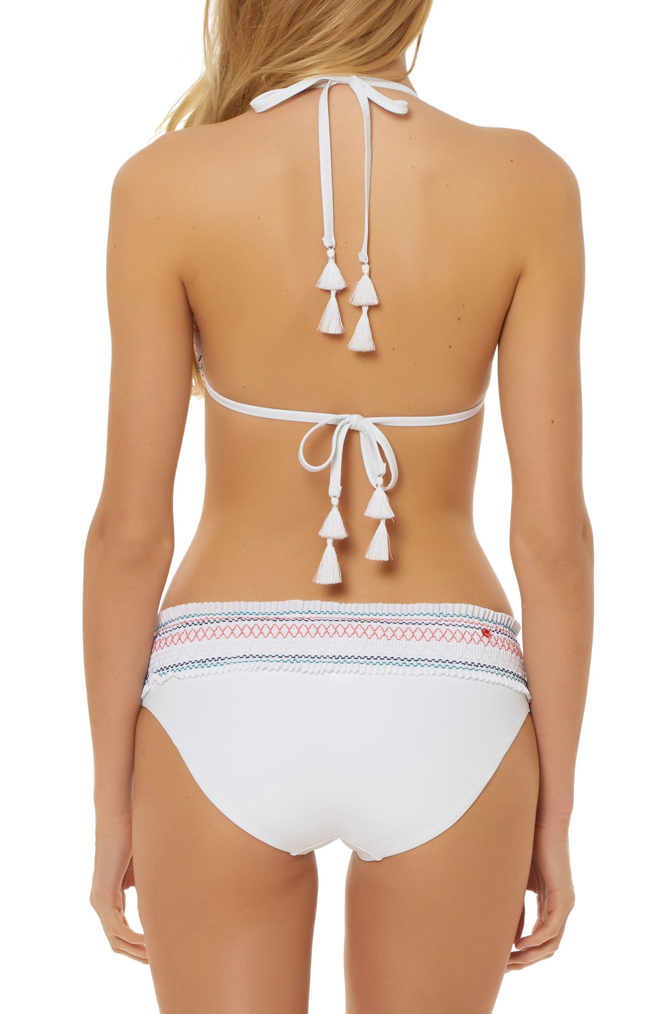 Smocked Triangle Bikini Top,                             Alternate thumbnail 4, color,                             White