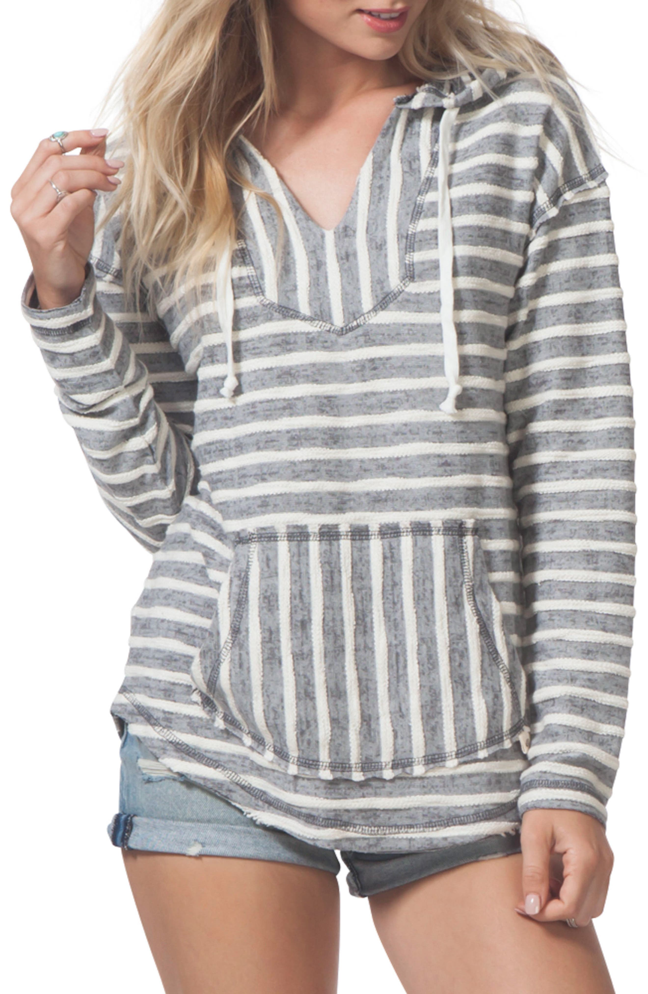 Love Sick Stripe Hoodie,                         Main,                         color, Charcoal