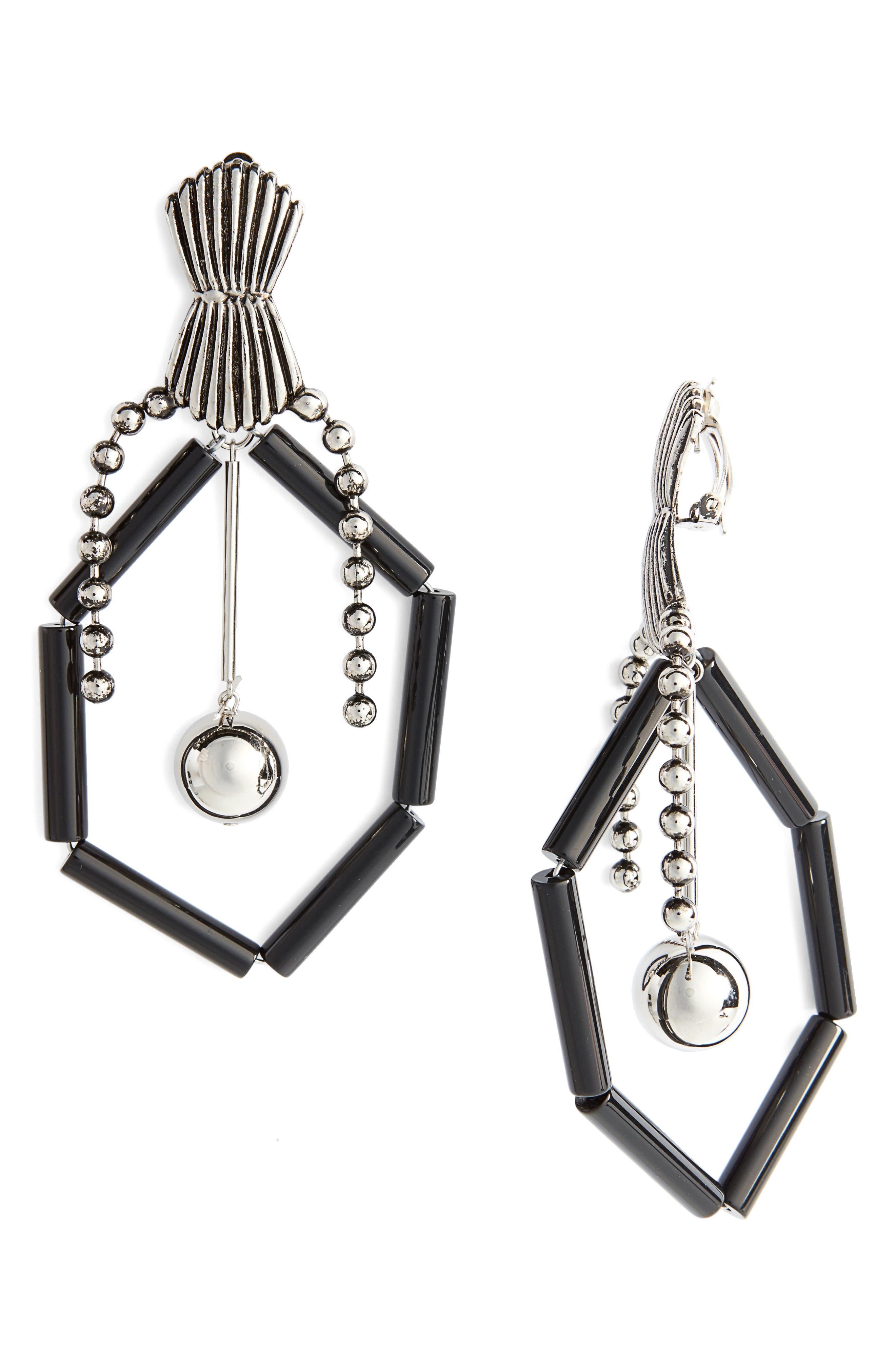 Drop Earrings,                         Main,                         color, Black