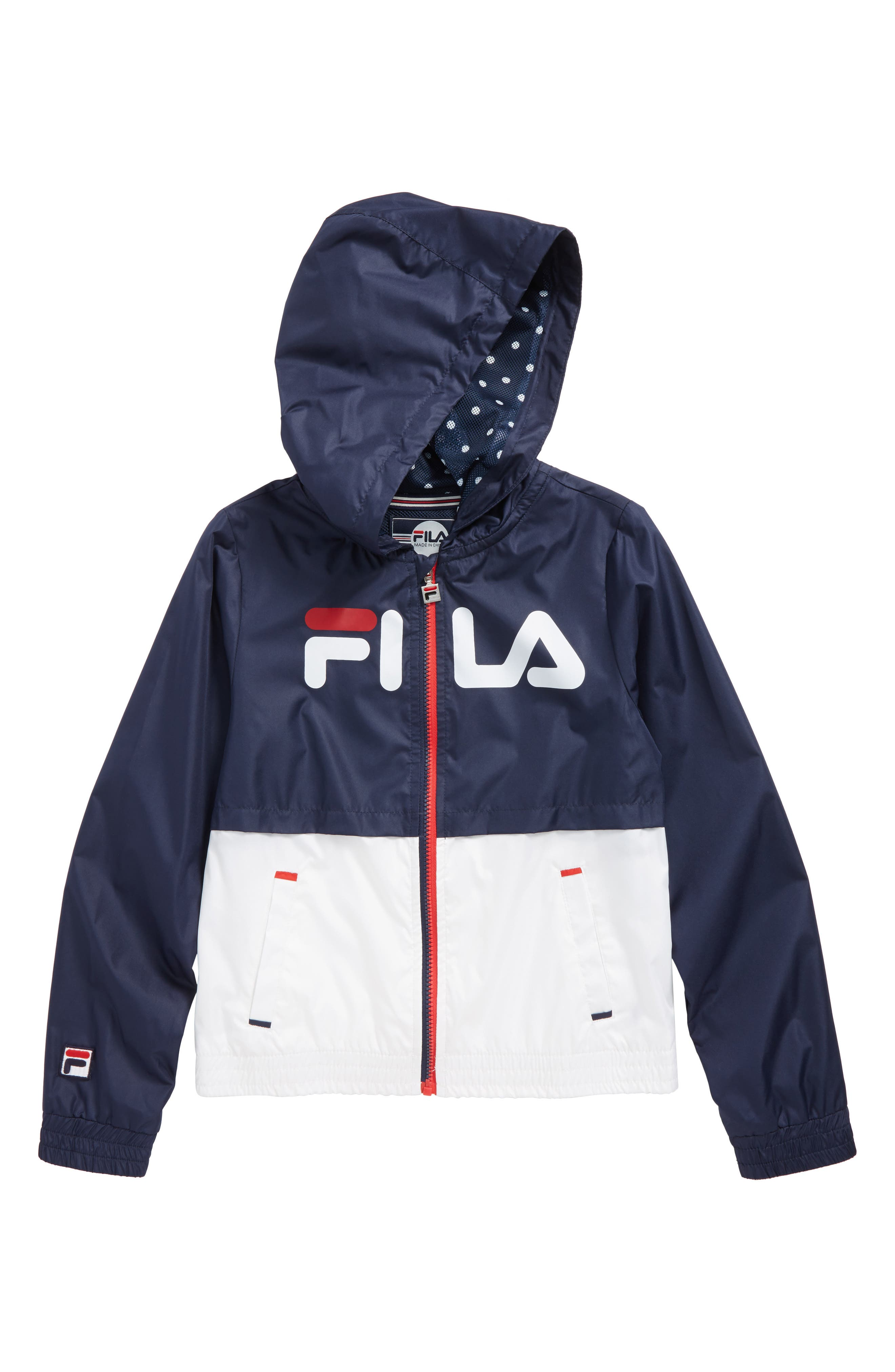 Colorblock Hooded Windbreaker,                         Main,                         color, Red/ Navy Combo