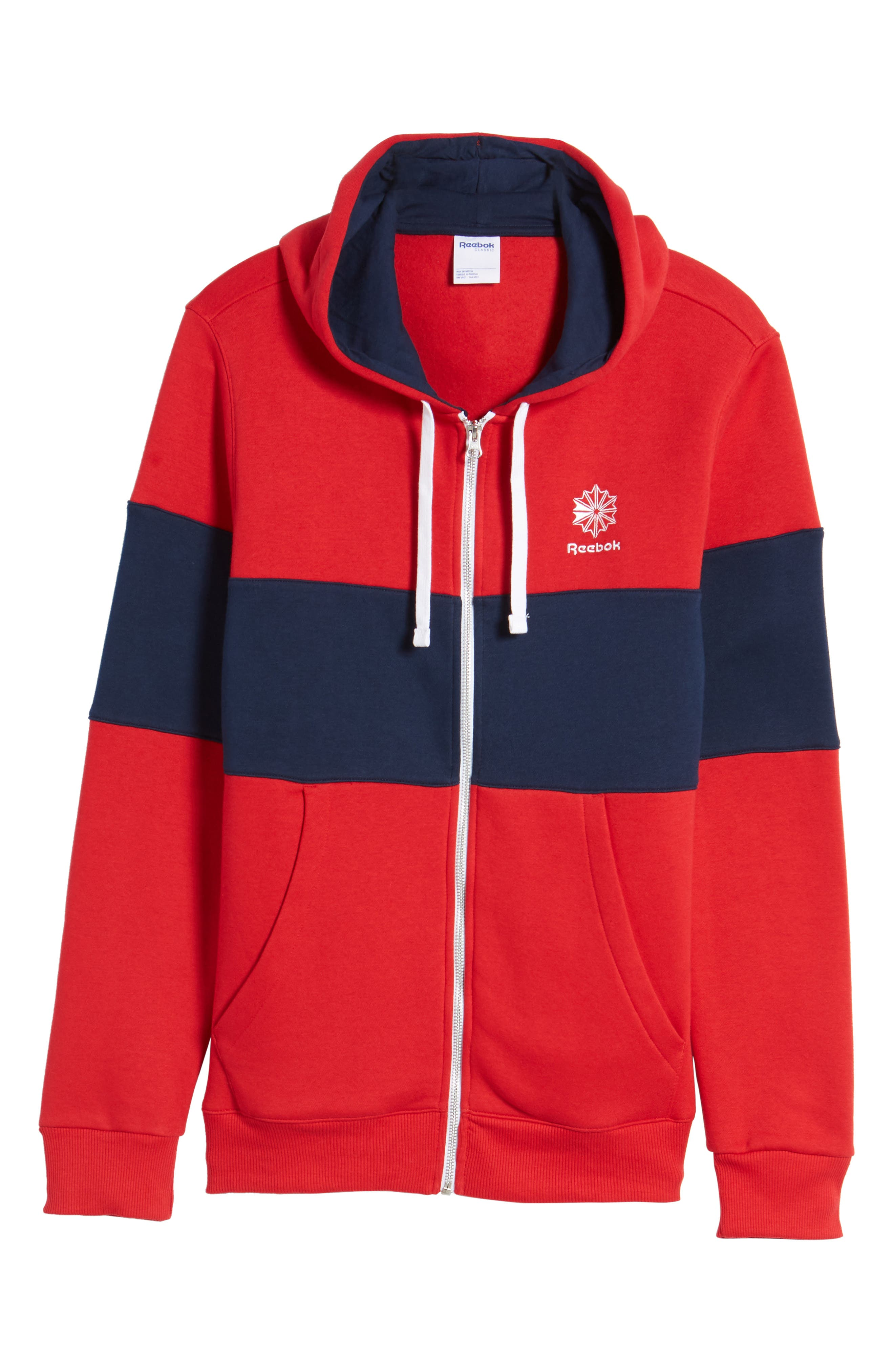 Classics Foundation Clockblock Zip Hoodie,                             Alternate thumbnail 6, color,                             Excellent Red/ Collegiate Navy