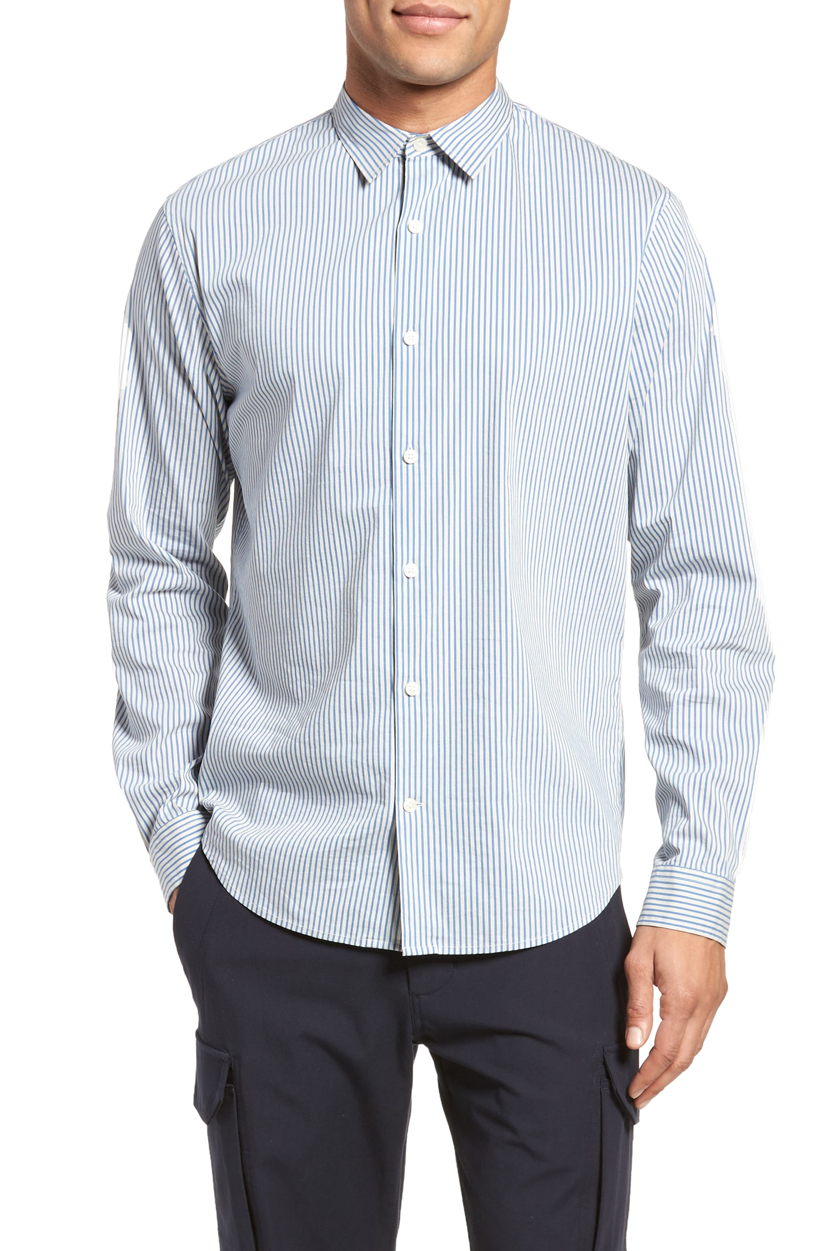Regular Fit Stripe Sport Shirt,                             Main thumbnail 1, color,                             White/ Ocean Blue