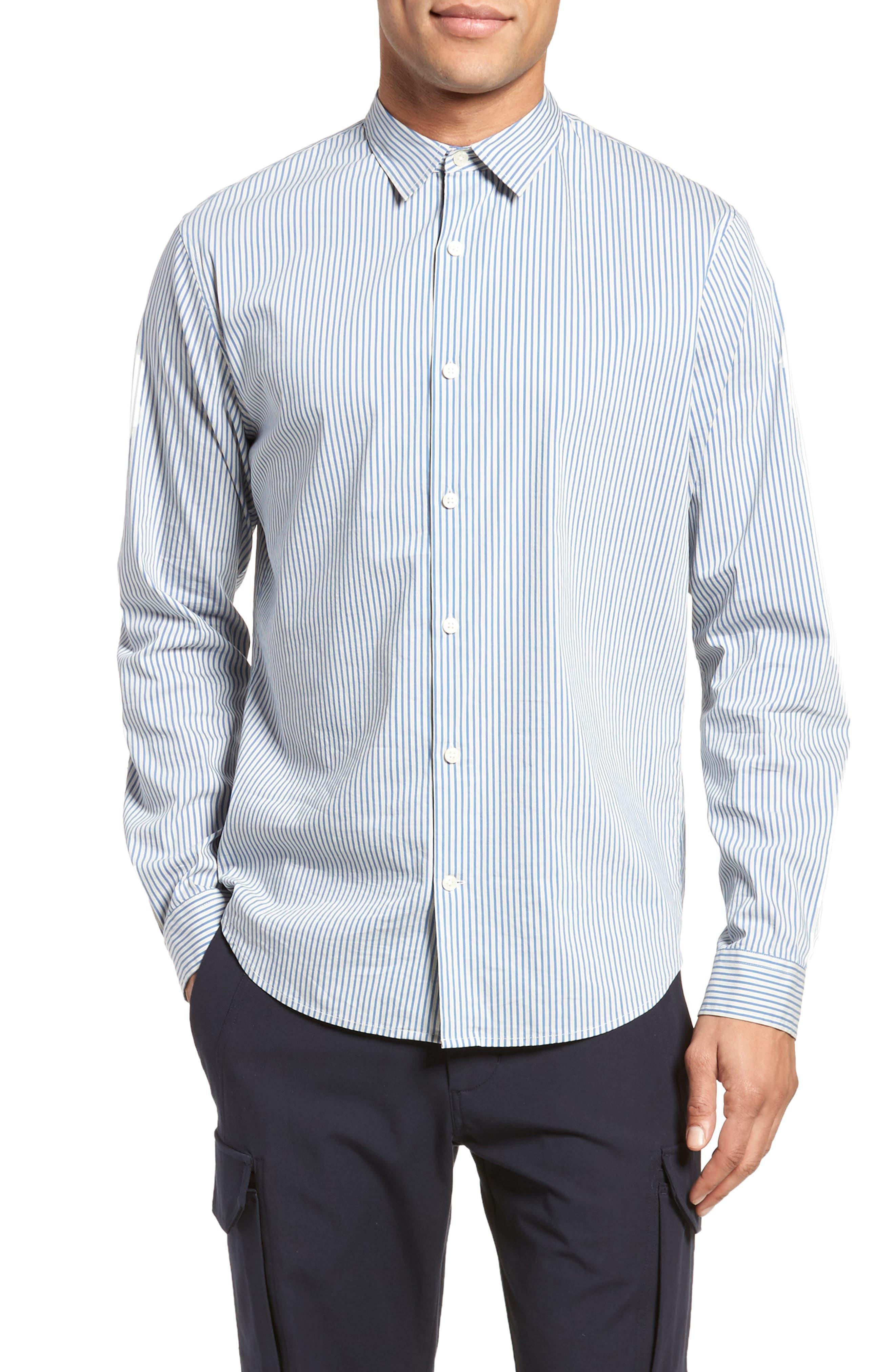 Regular Fit Stripe Sport Shirt,                         Main,                         color, White/ Ocean Blue