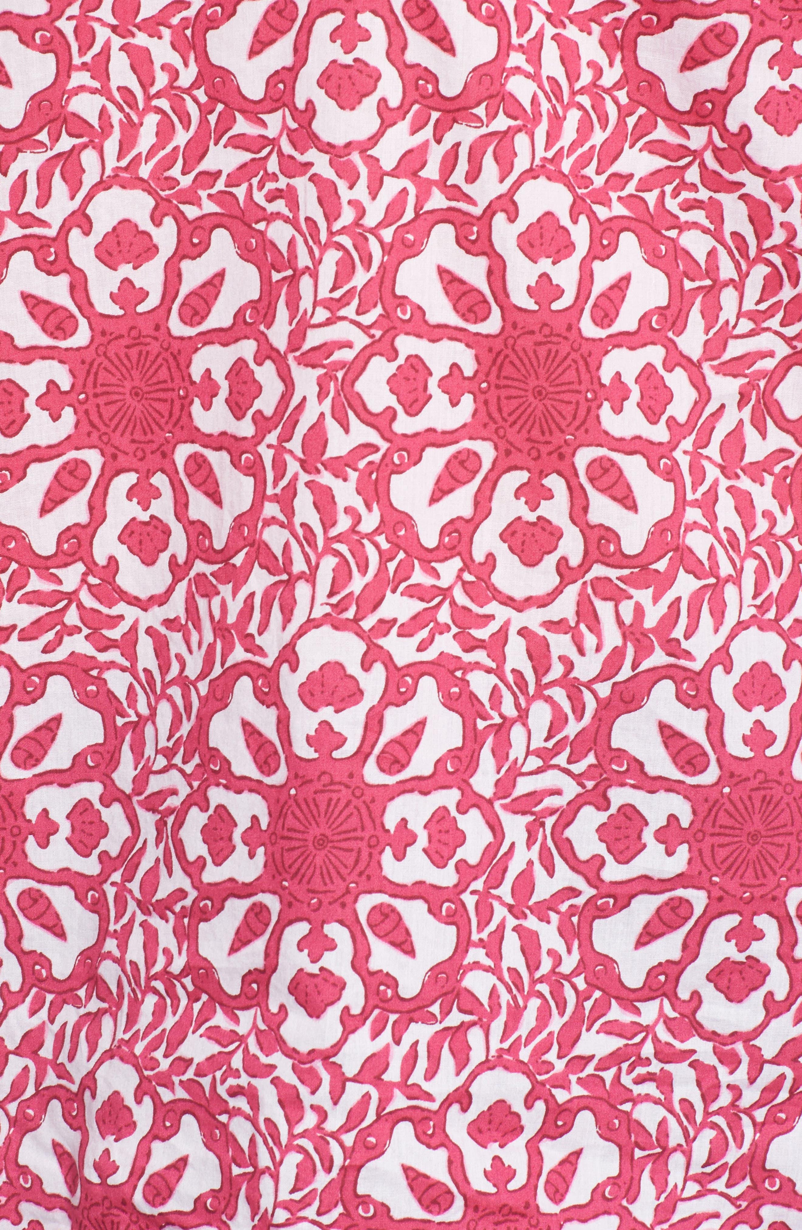 Tile Medallion Cotton Top,                             Alternate thumbnail 5, color,                             Rhododendron