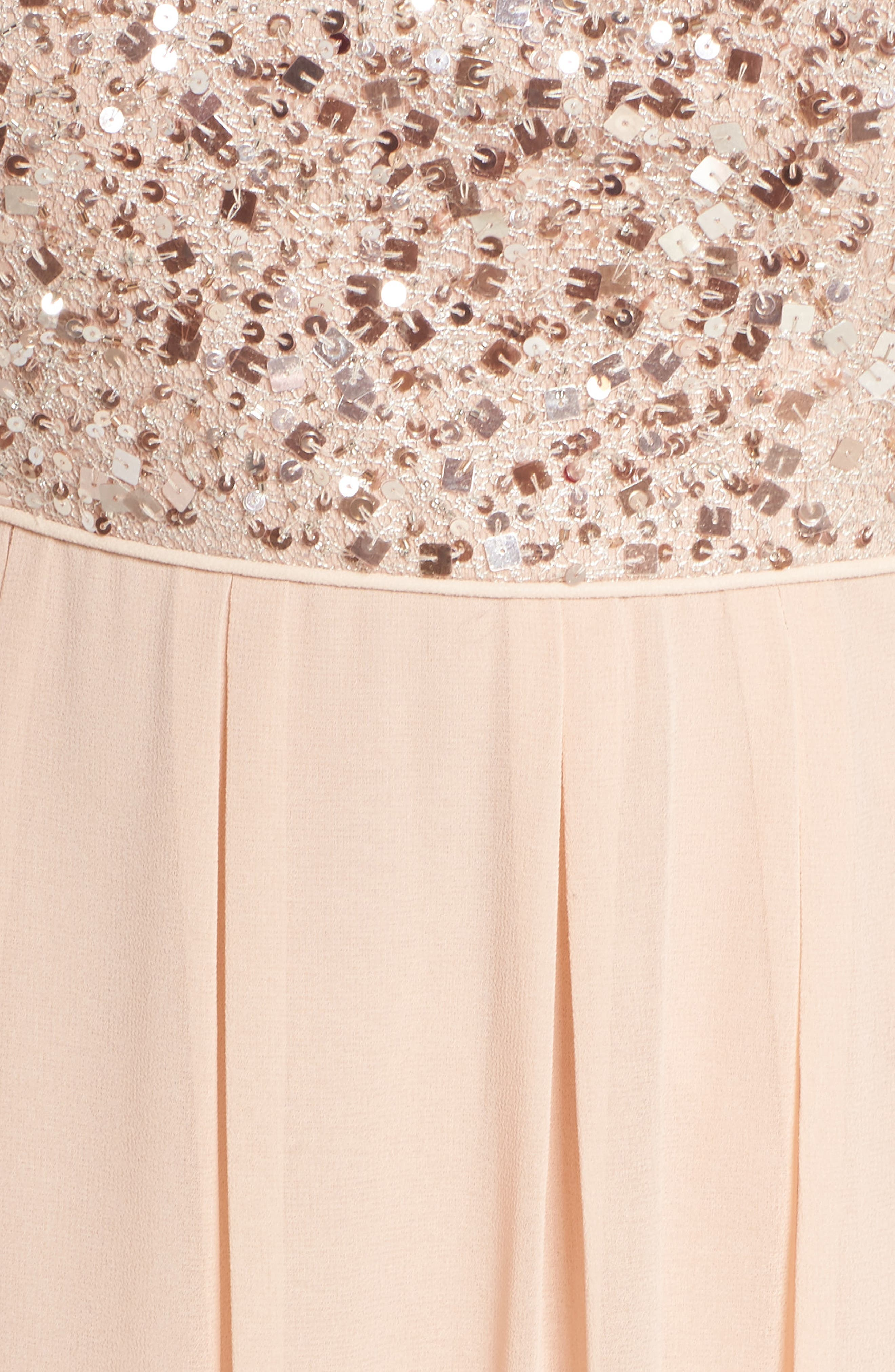 Beaded Metallic Lace Gown,                             Alternate thumbnail 5, color,                             English Rose