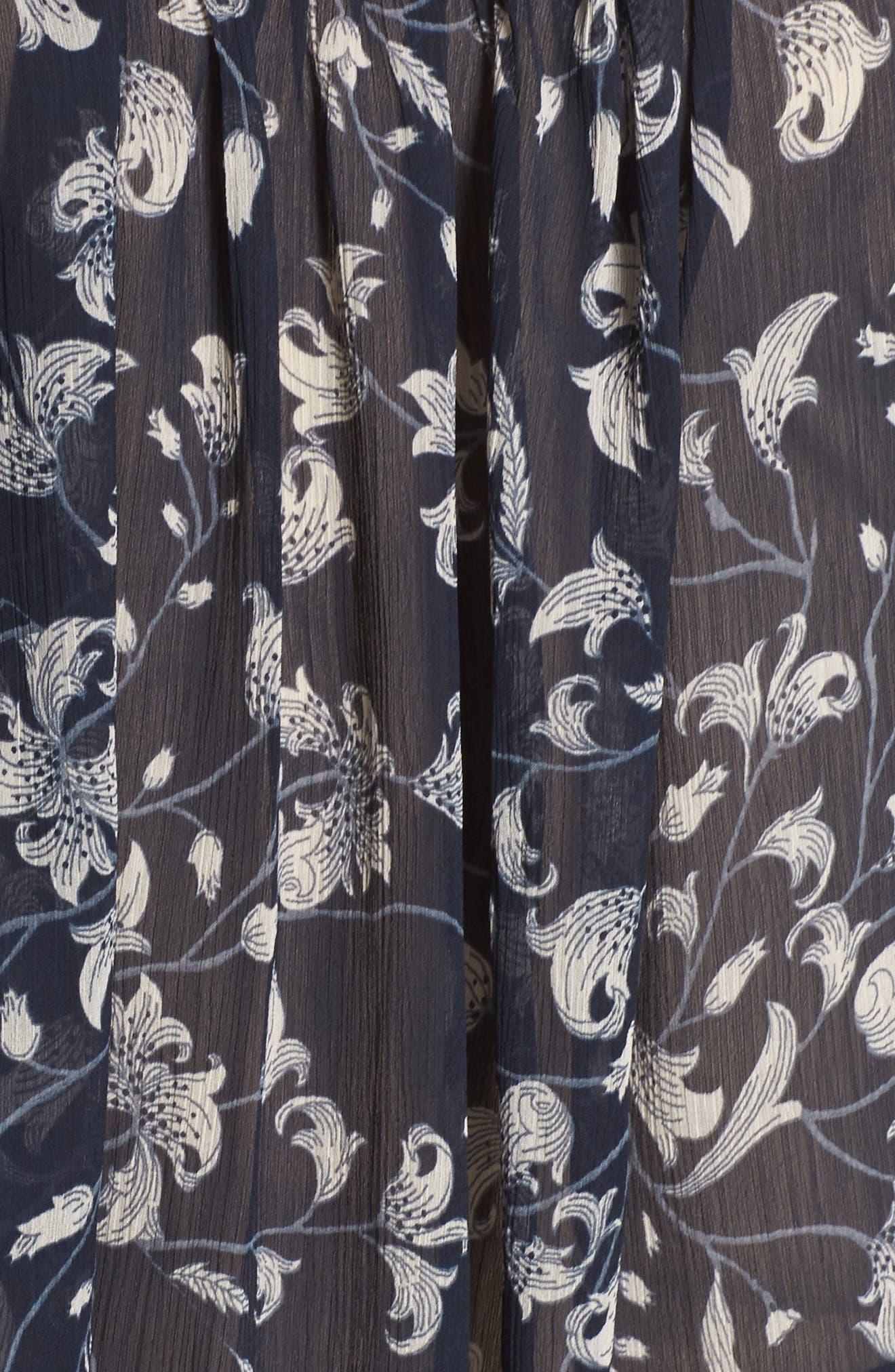 Floral Print Ruffle Top,                             Alternate thumbnail 5, color,                             Blue Multi