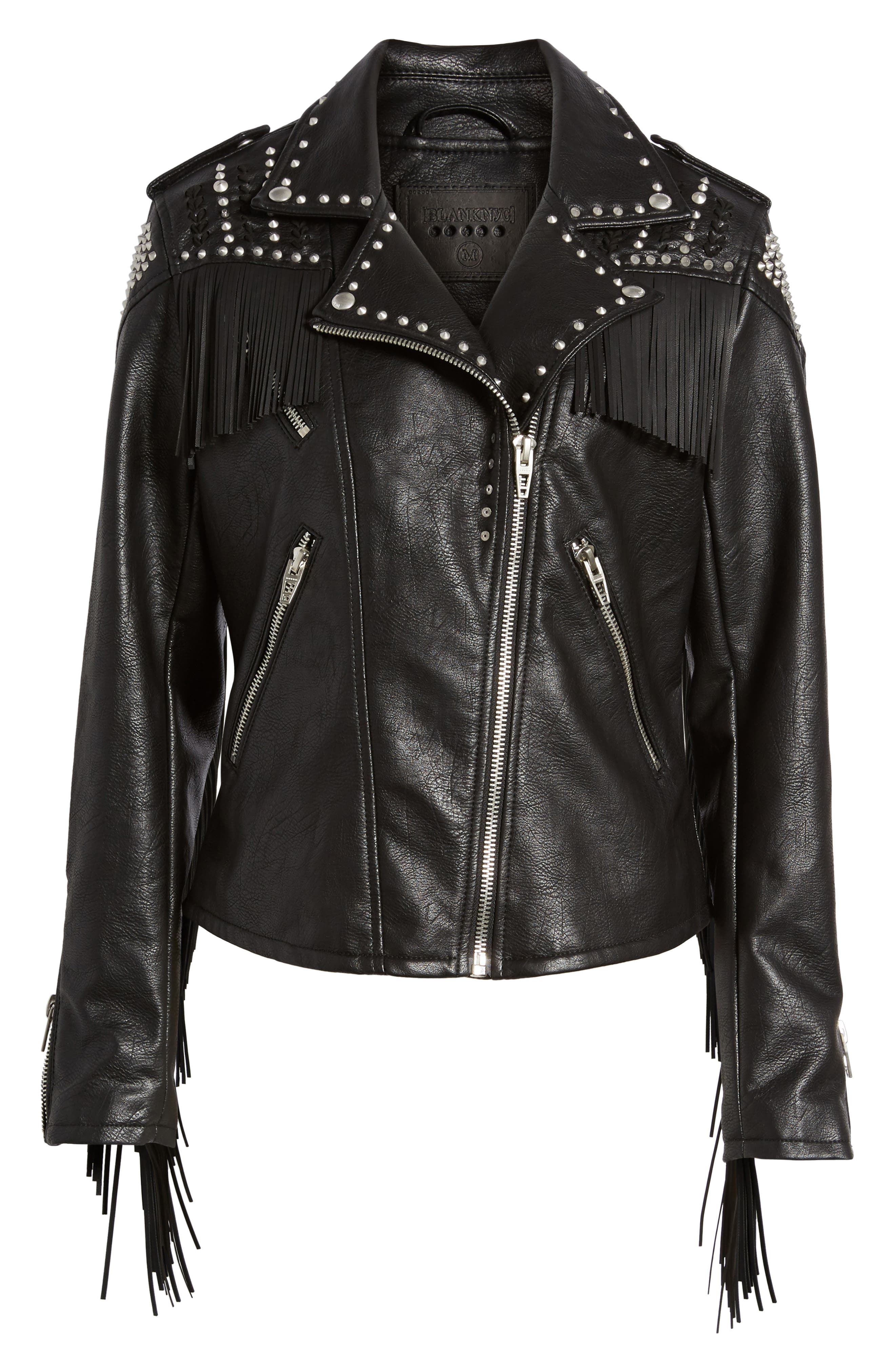 Studded Fringe Faux Leather Moto Jacket,                             Alternate thumbnail 6, color,                             On The Run