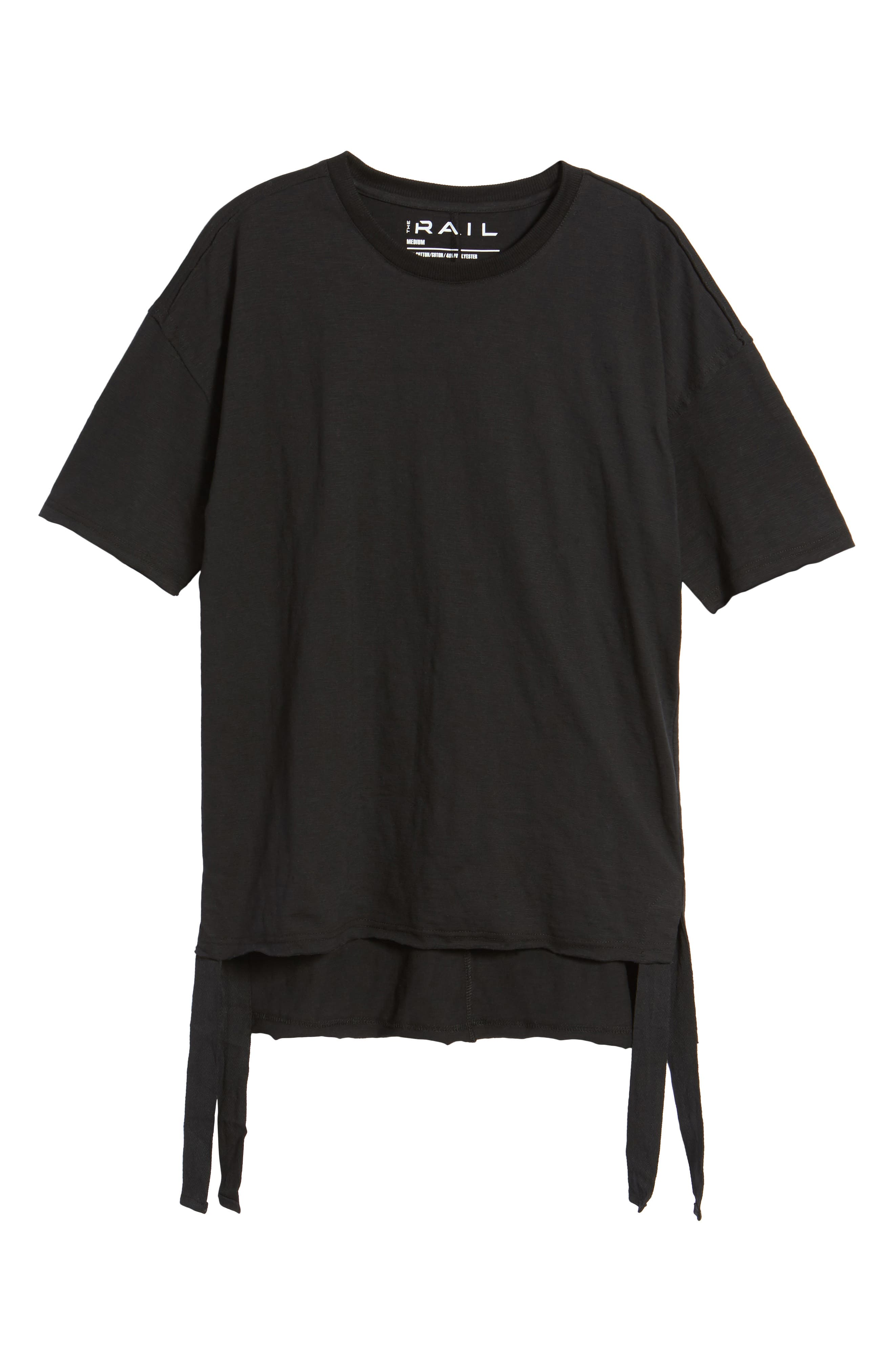 Raw Edge Strapped T-Shirt,                             Alternate thumbnail 6, color,                             Black Rock