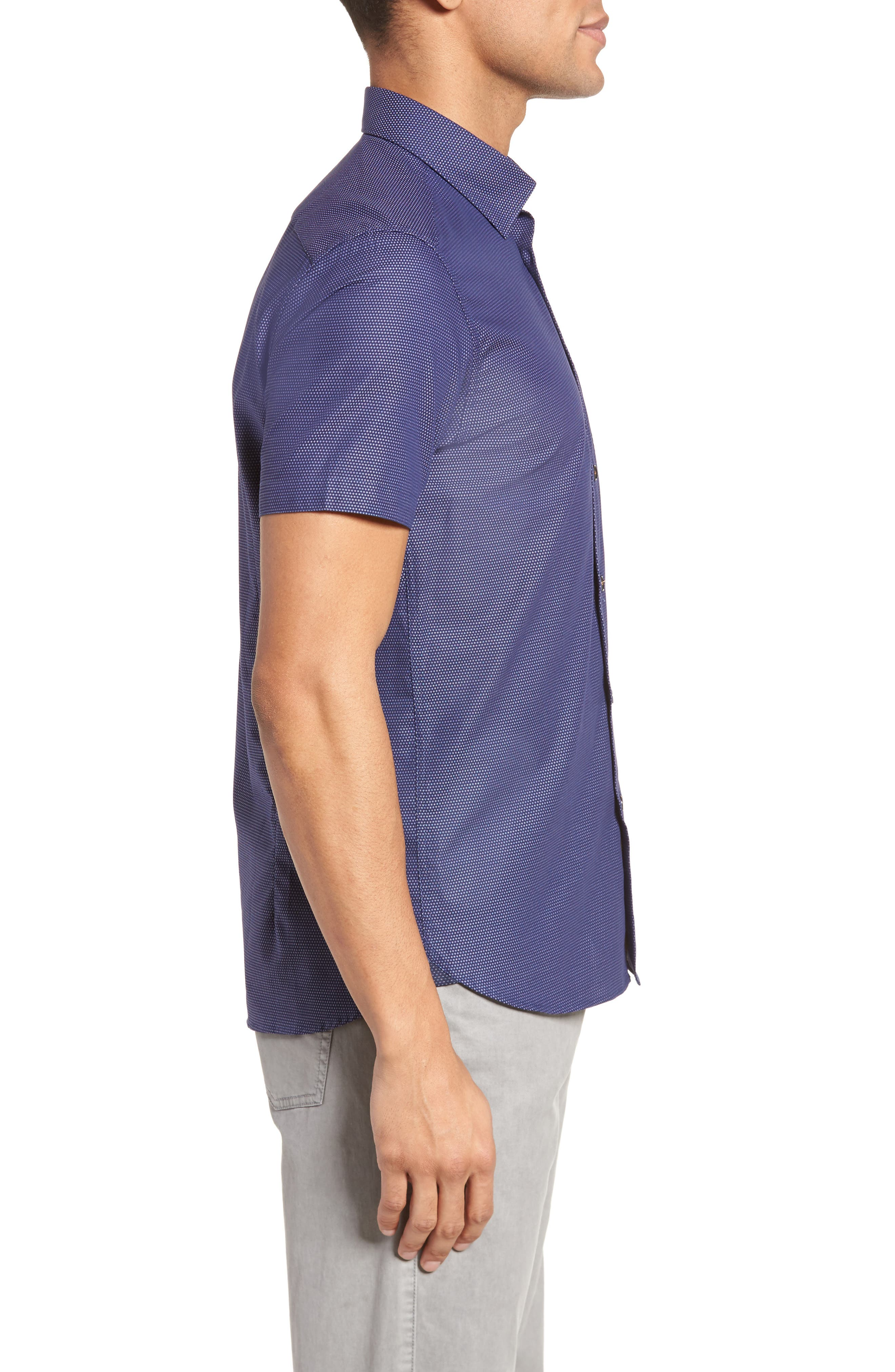 Dotdots Trim Fit Dot Short Sleeve Sport Shirt,                             Alternate thumbnail 4, color,                             Navy