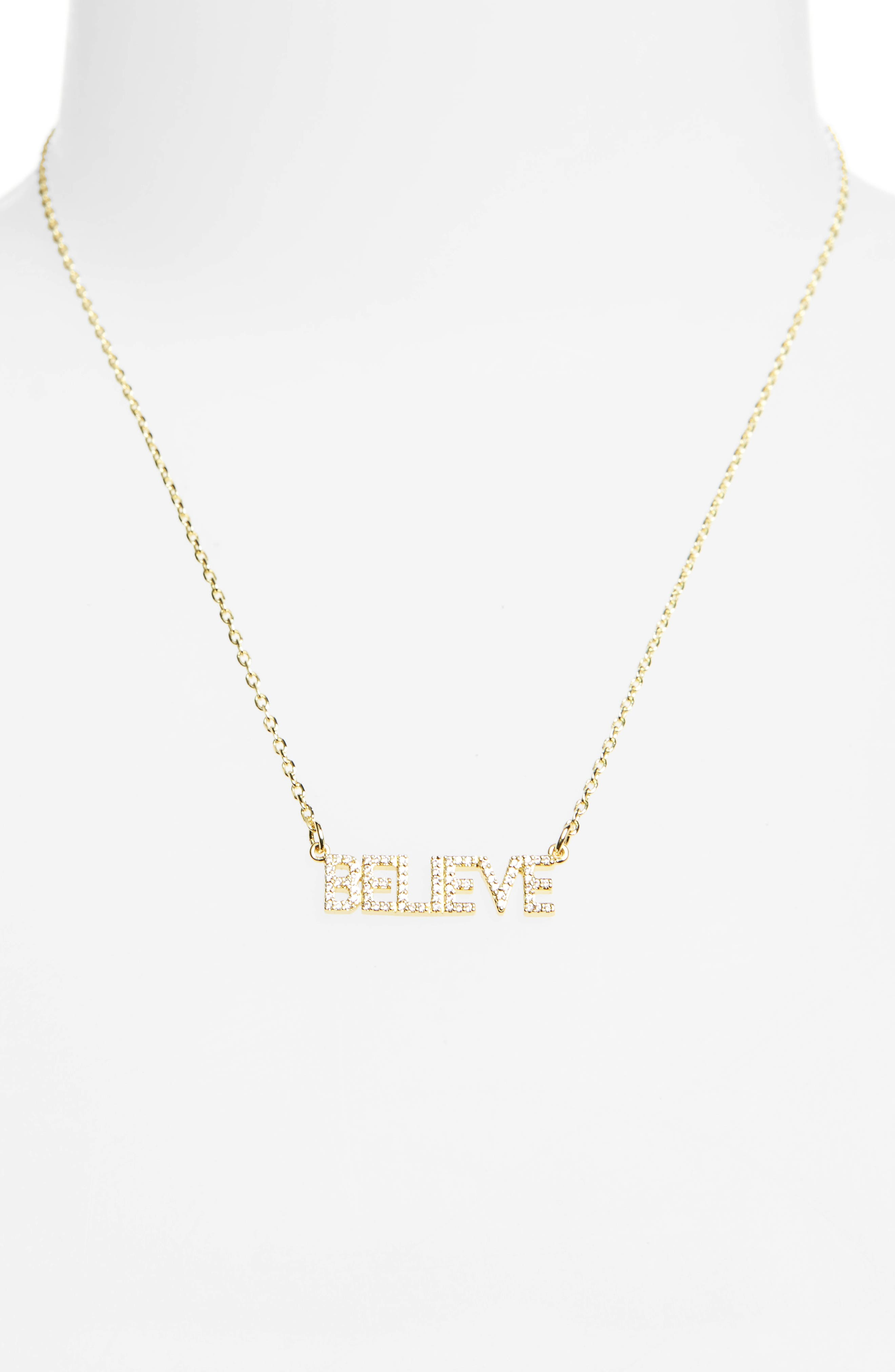 Believe Necklace,                             Alternate thumbnail 2, color,                             Gold