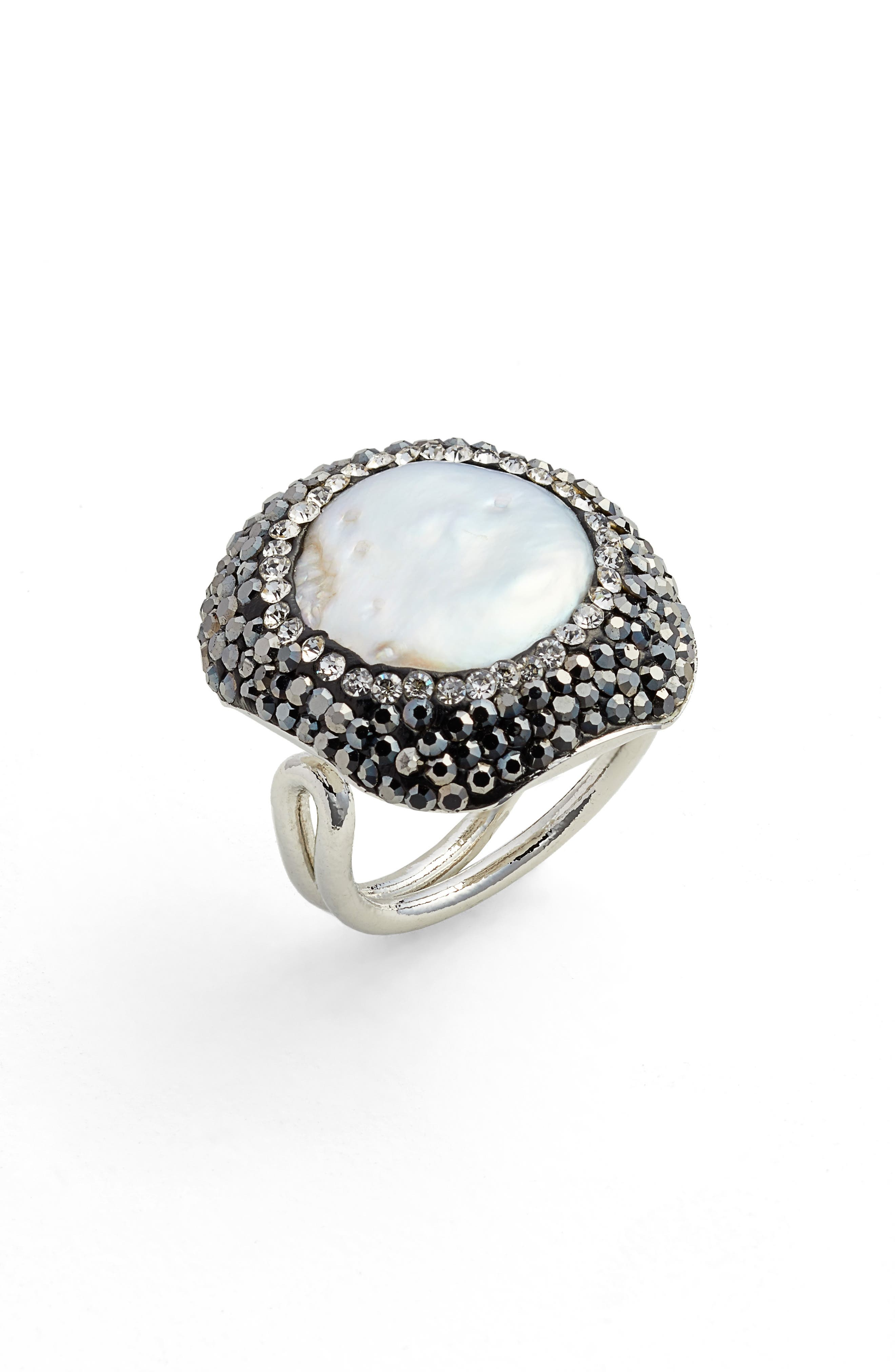 Clarinet Mother-of-Pearl & Crystal Adjustable Ring,                         Main,                         color, Pearl