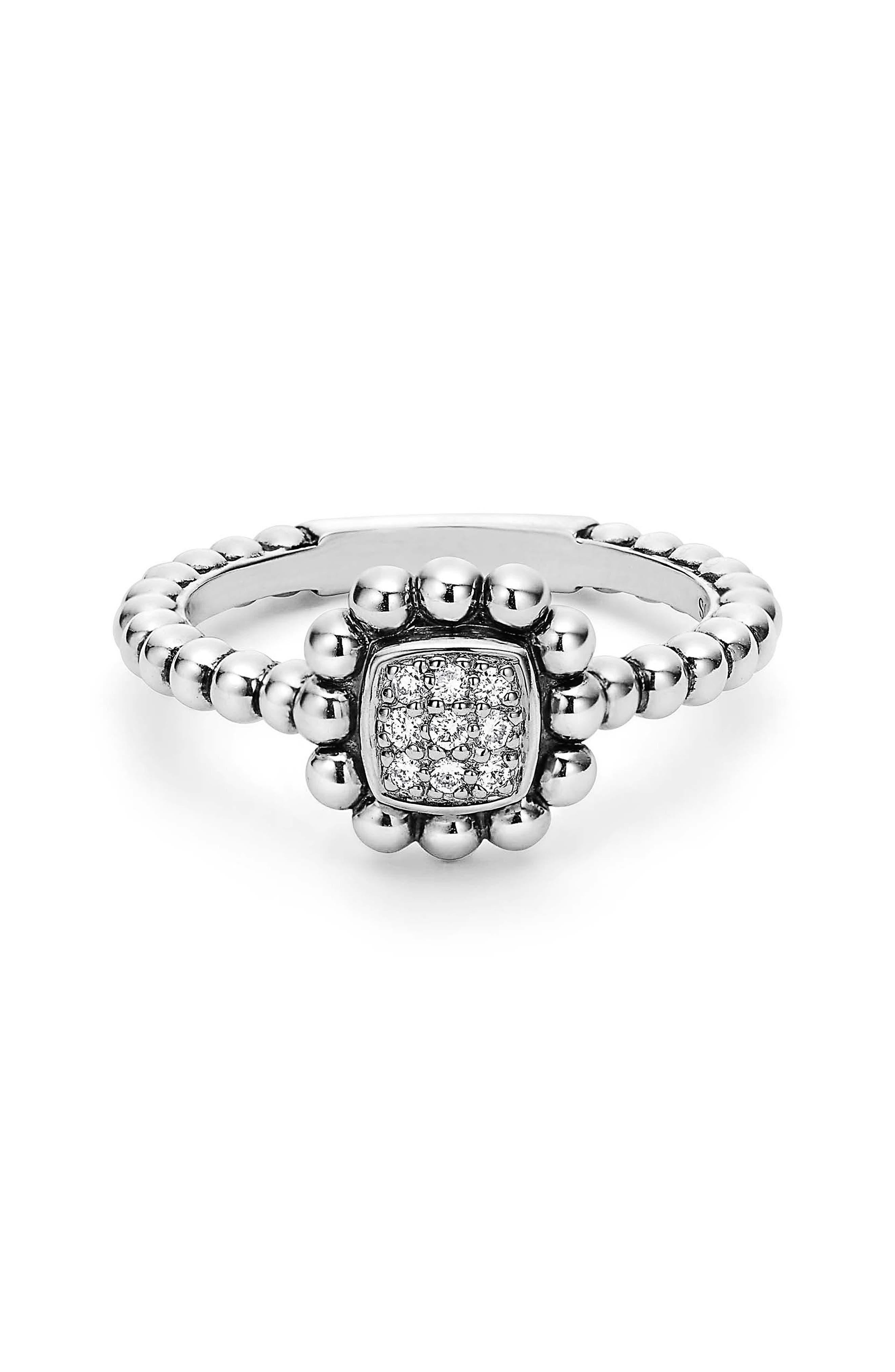 Caviar Spark Diamond Square Ring,                             Alternate thumbnail 2, color,                             Silver/ Diamond