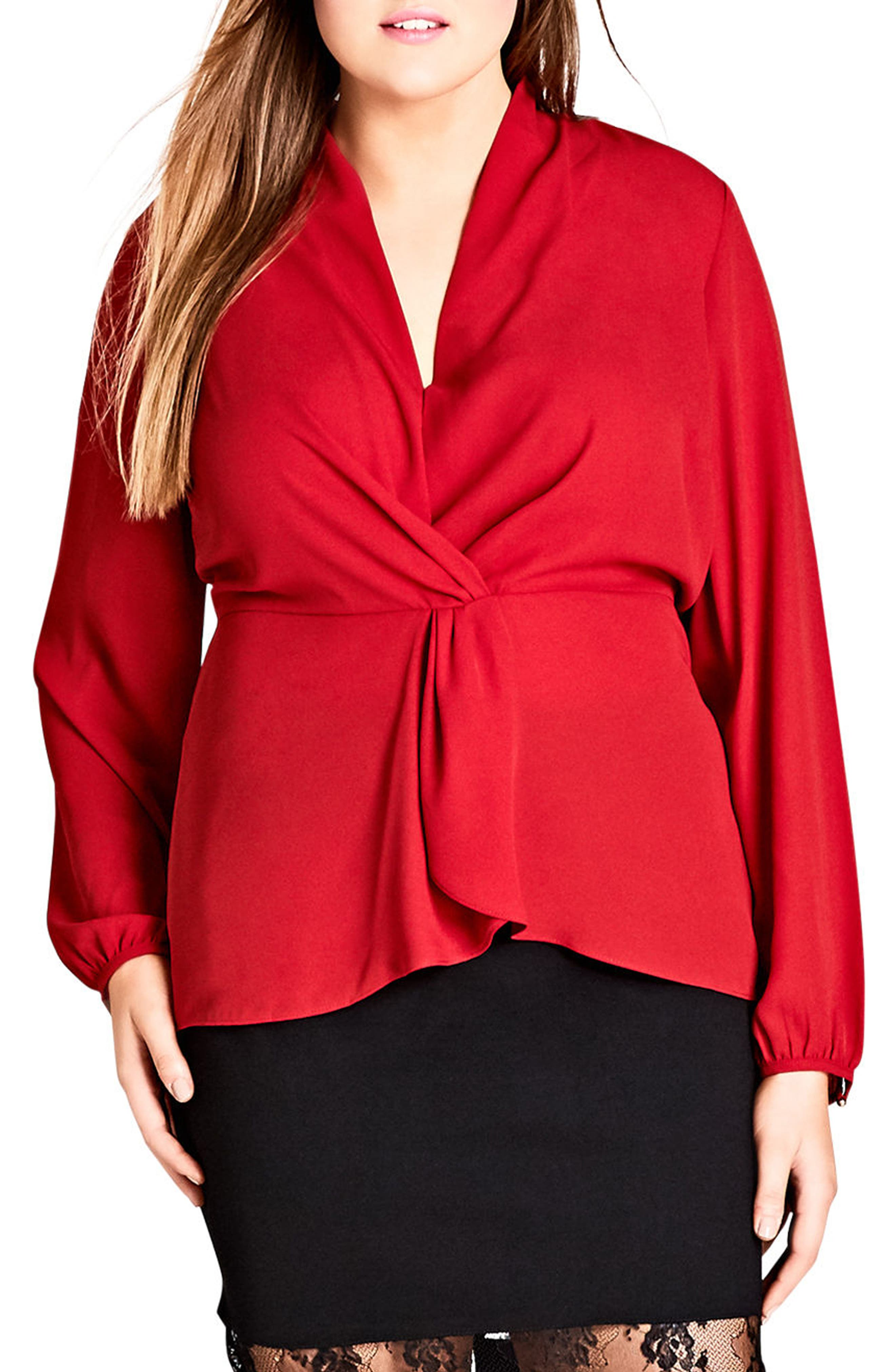 Knot Front Top,                         Main,                         color, Red Rose