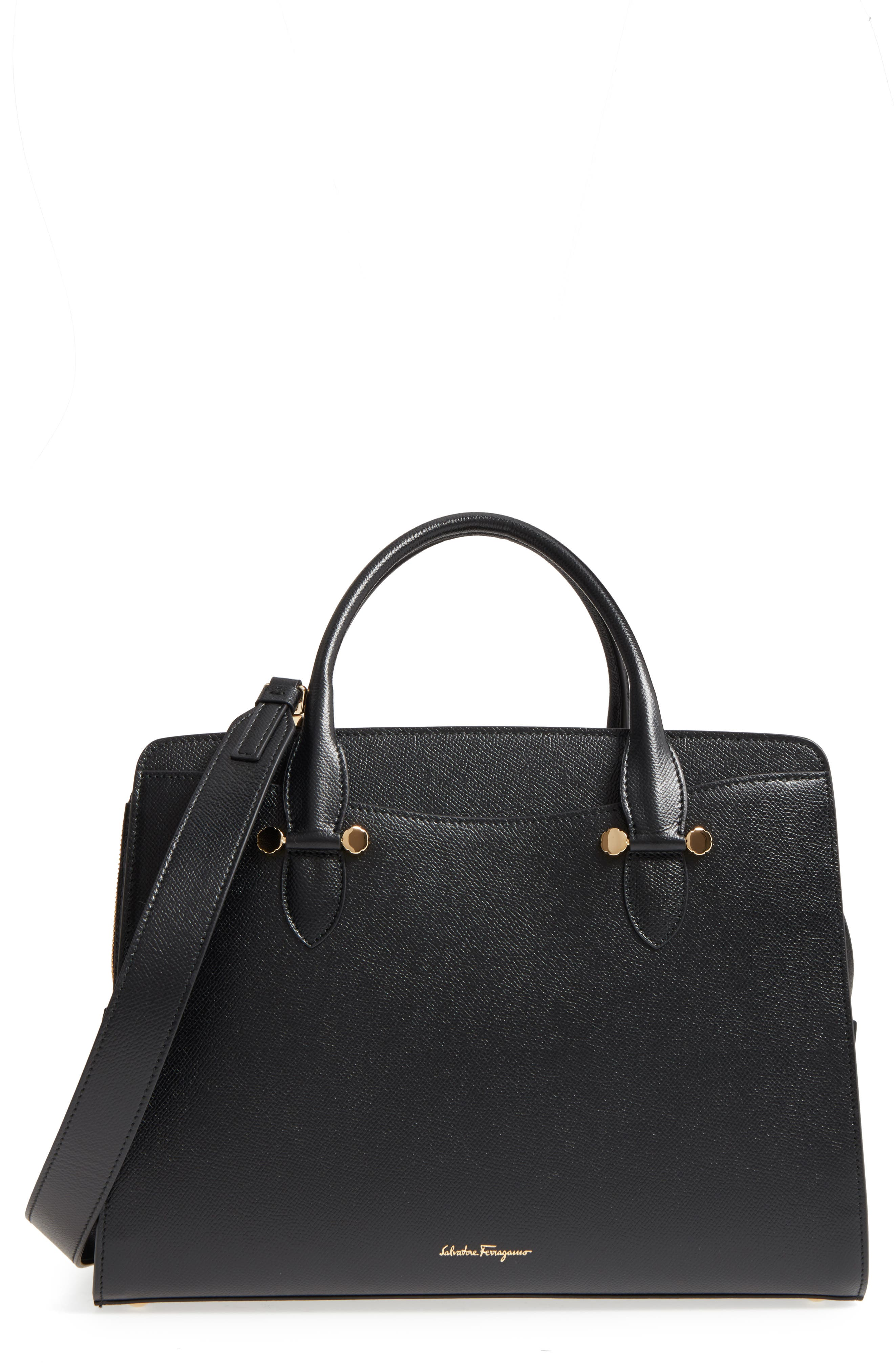 Small Today Leather Satchel,                         Main,                         color, Nero