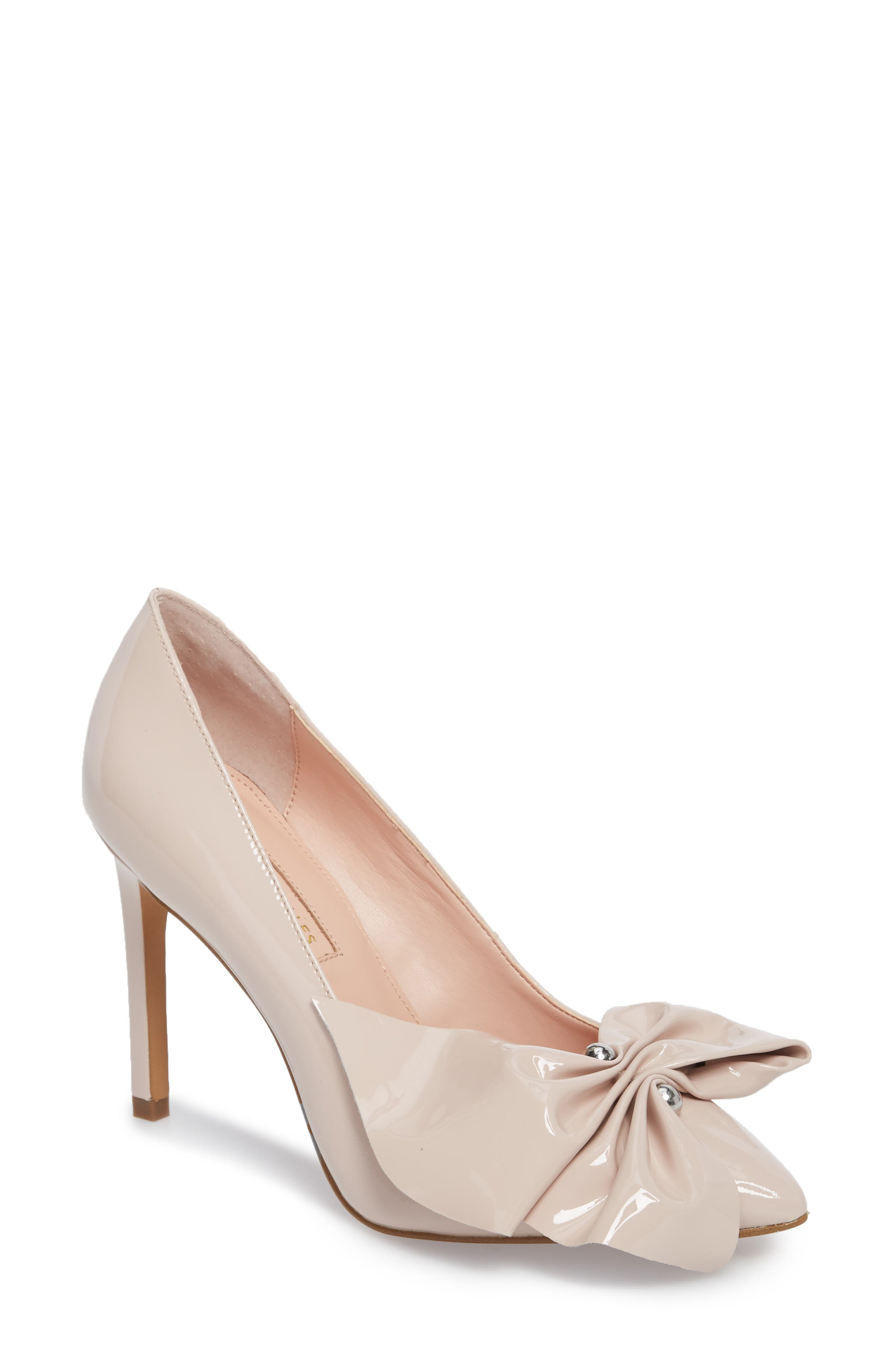 Bow Pointy Toe Pump,                             Main thumbnail 1, color,                             Avec Pink Leather