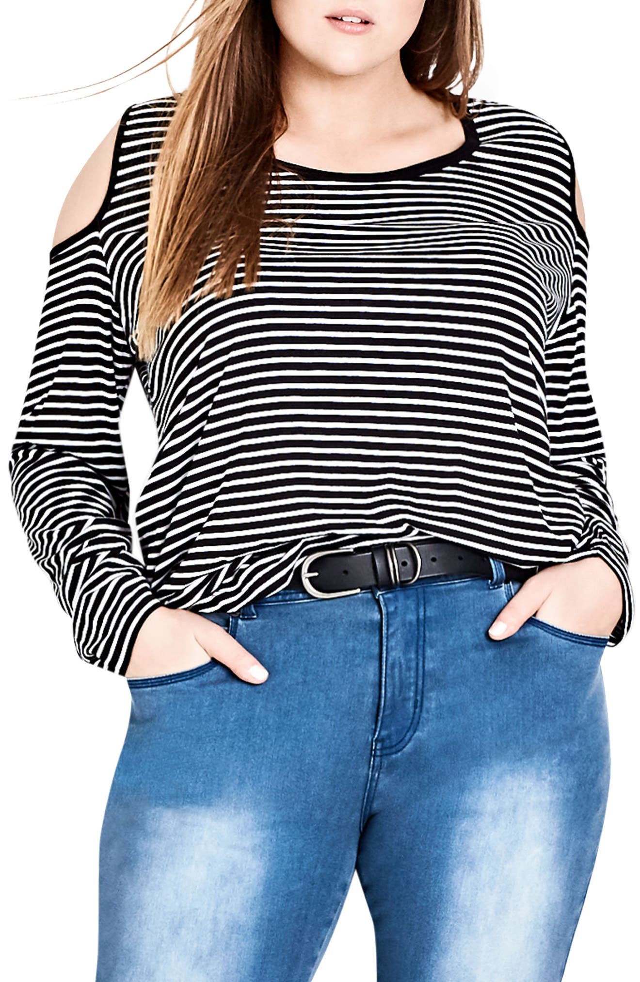 Alternate Image 1 Selected - City Chic Stripe Cold Shoulder Jersey Top (Plus Size)