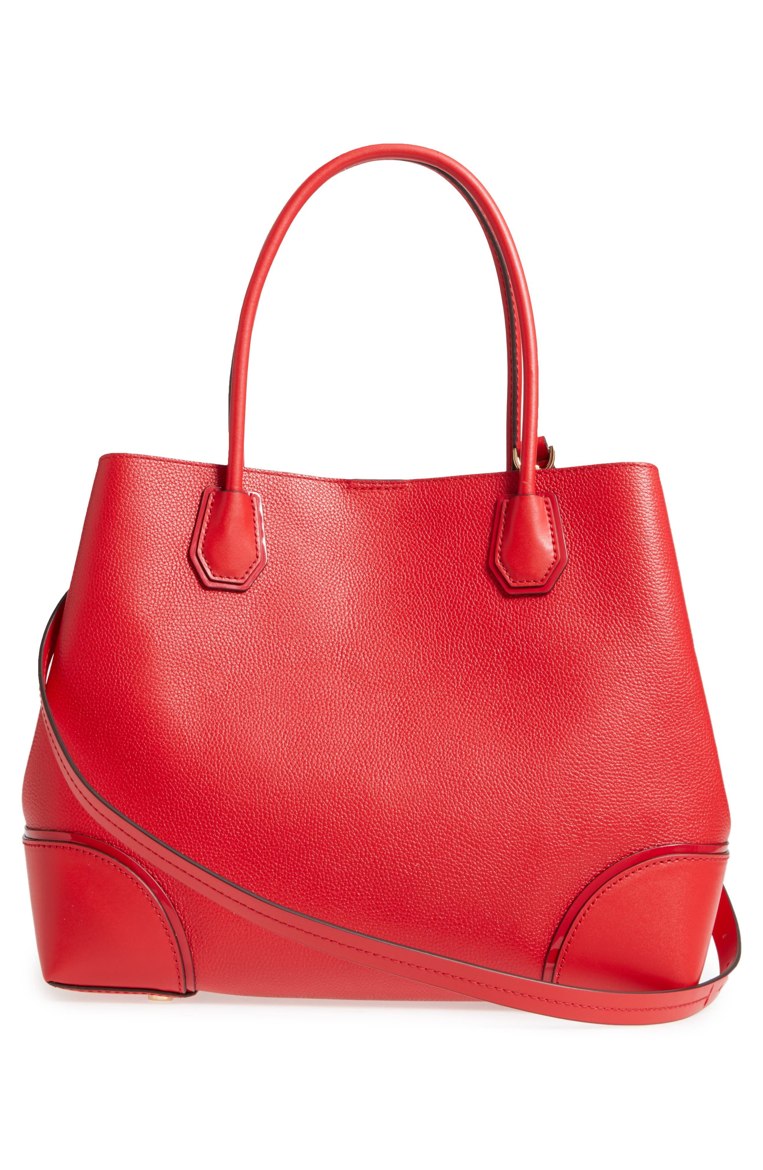 MICHAEL Michael Kors Large Mercer Leather Tote,                             Alternate thumbnail 6, color,                             Bright Red