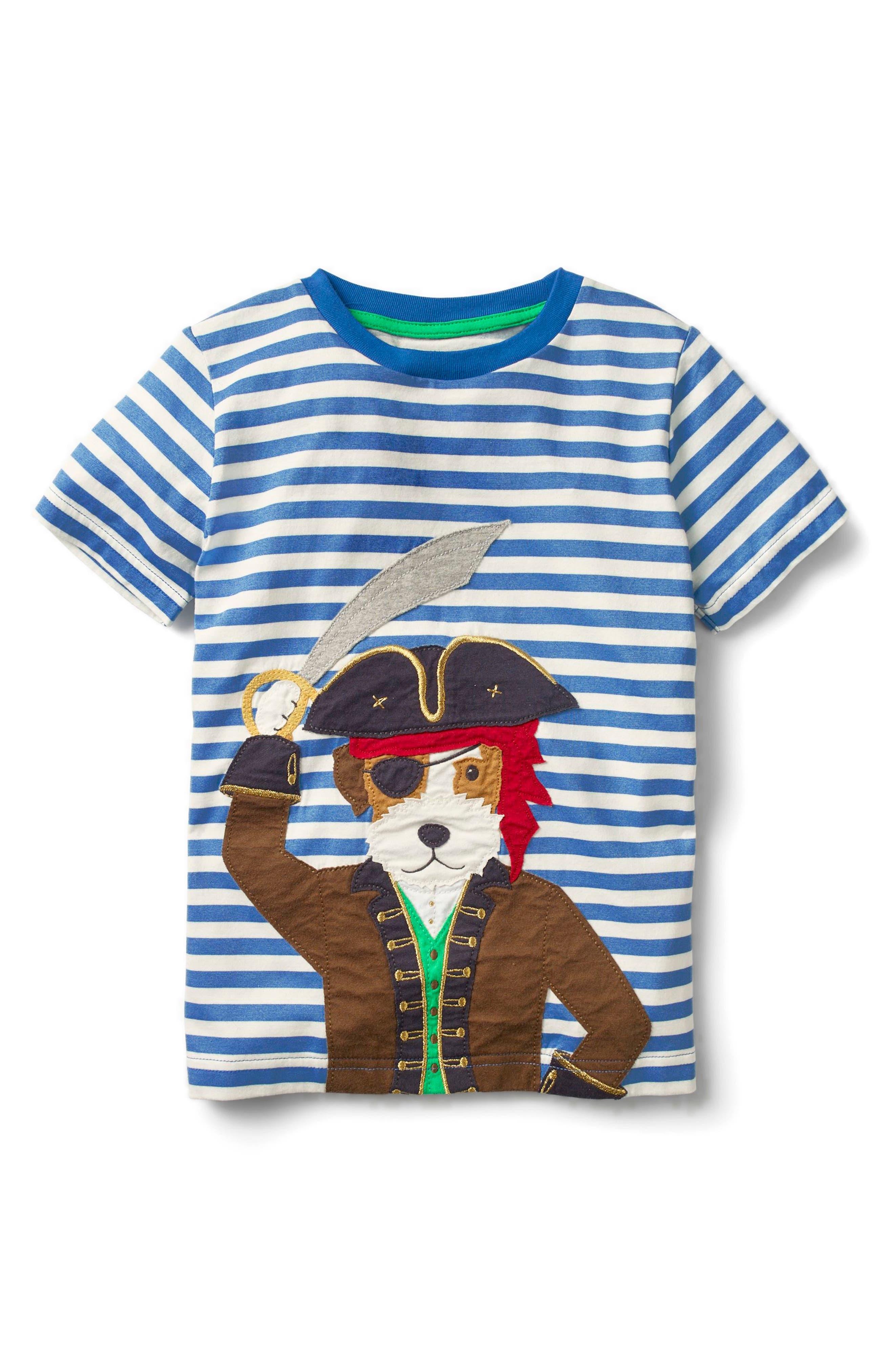 Pet Pirate Dog Appliqué T-Shirt,                             Main thumbnail 1, color,                             Skipper/ Ecru Dog