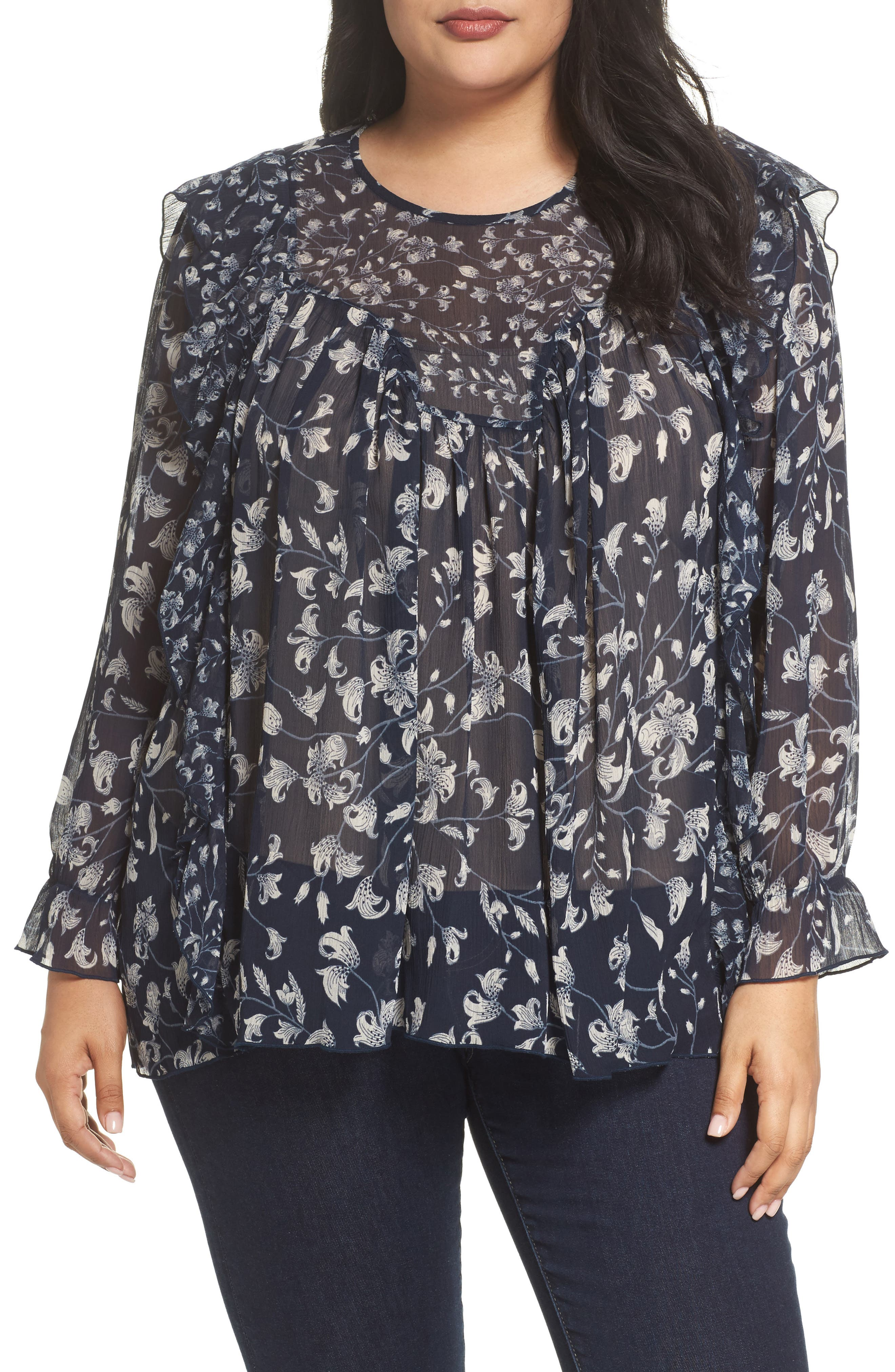 Lucky Brand Floral Print Ruffle Top (Plus Size)
