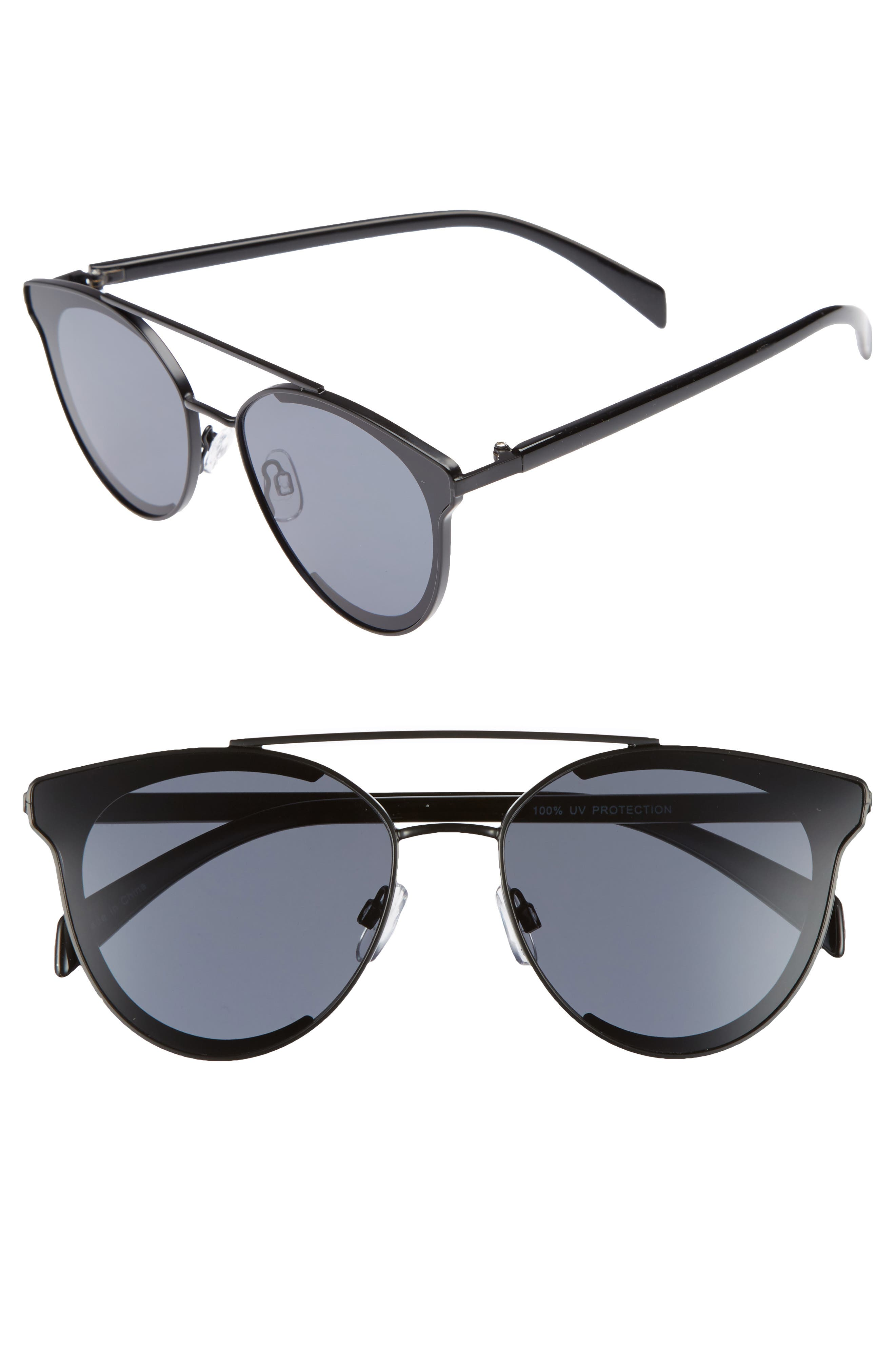 58mm Aviator Sunglasses,                         Main,                         color, Black/ Black