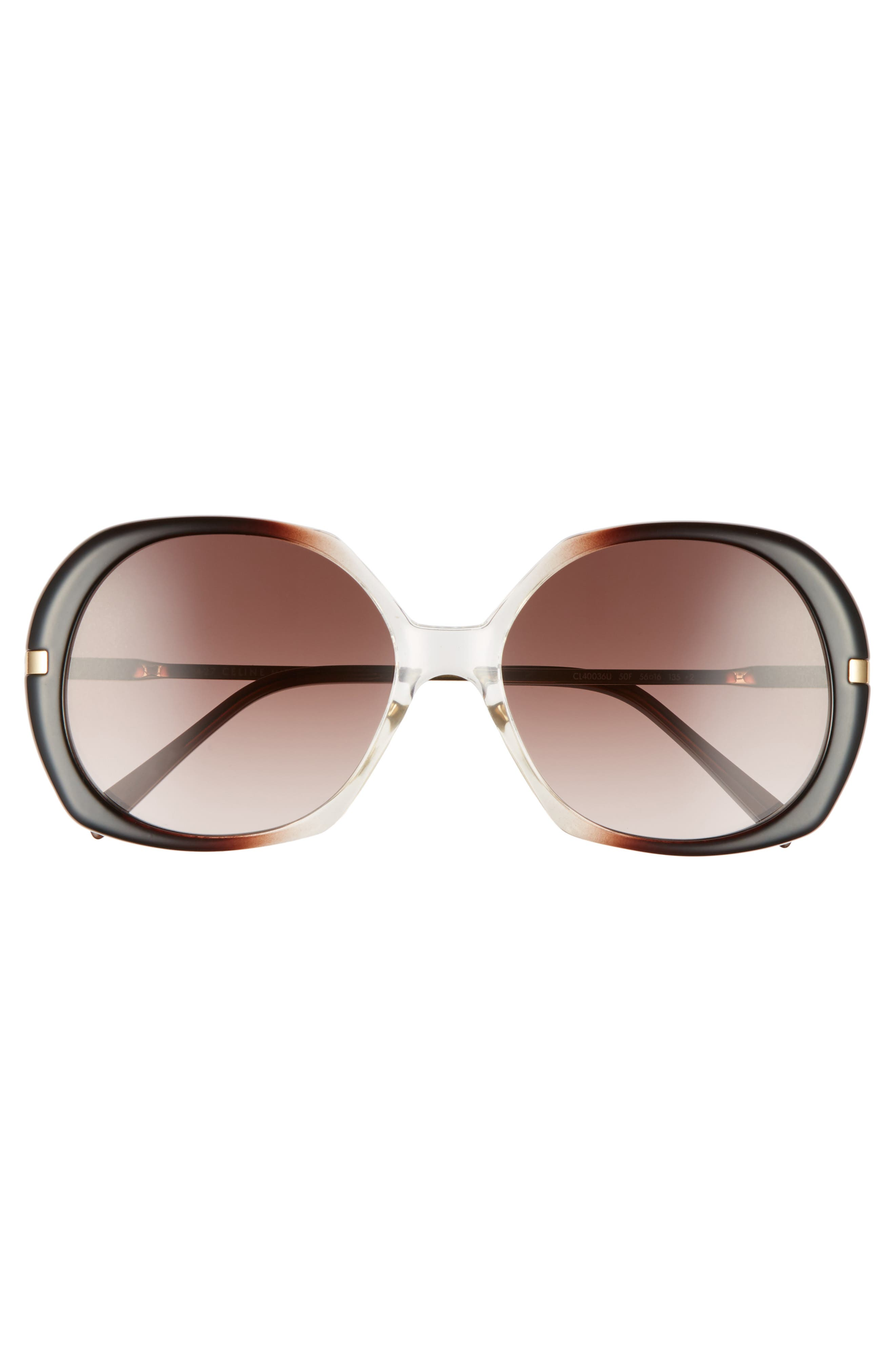 56mm Round Sunglasses,                             Alternate thumbnail 3, color,                             Dark Brown/ Light Gold/ Brown