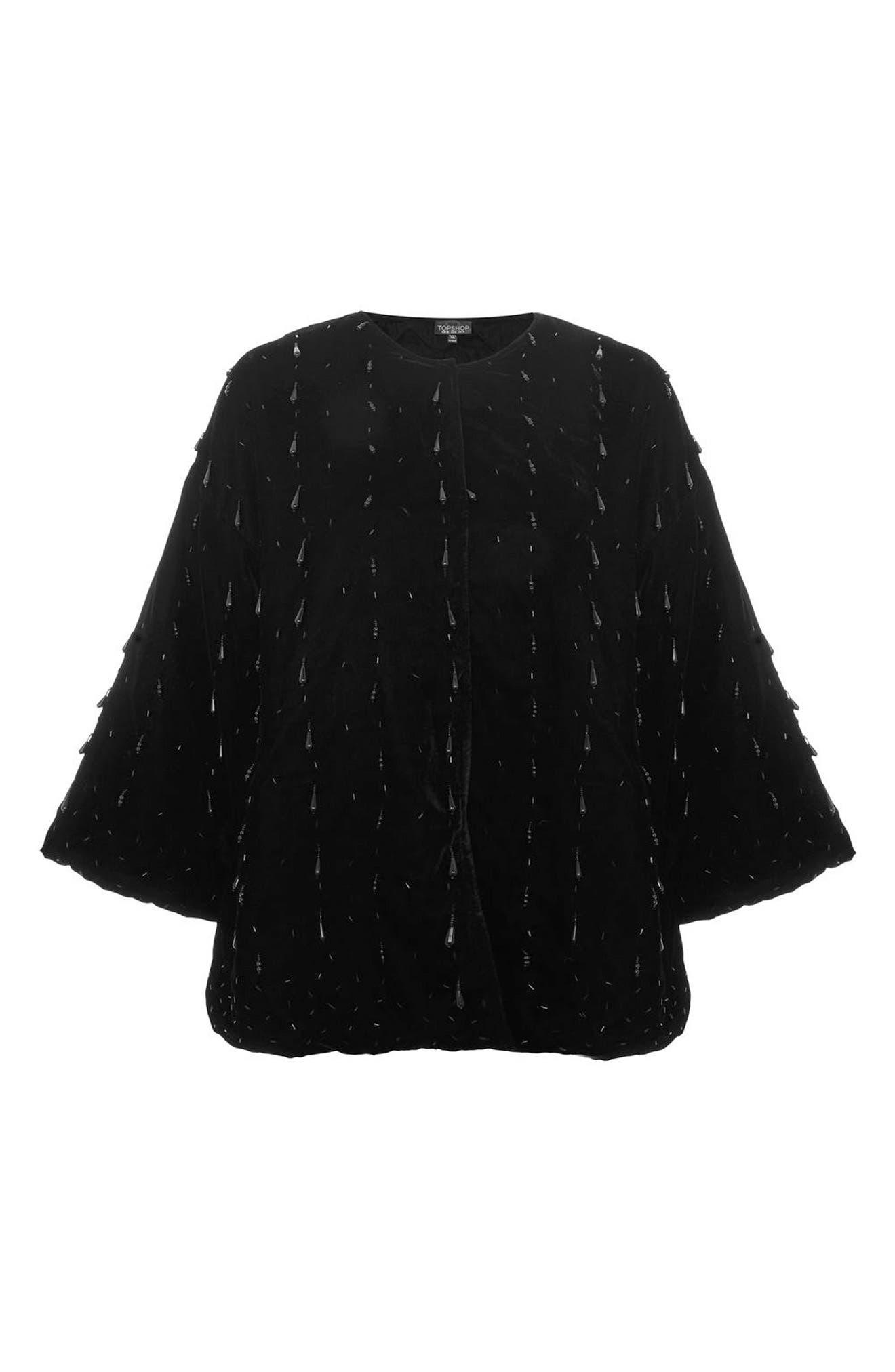 Noelle Beaded Velvet Kimono,                             Alternate thumbnail 5, color,                             Black