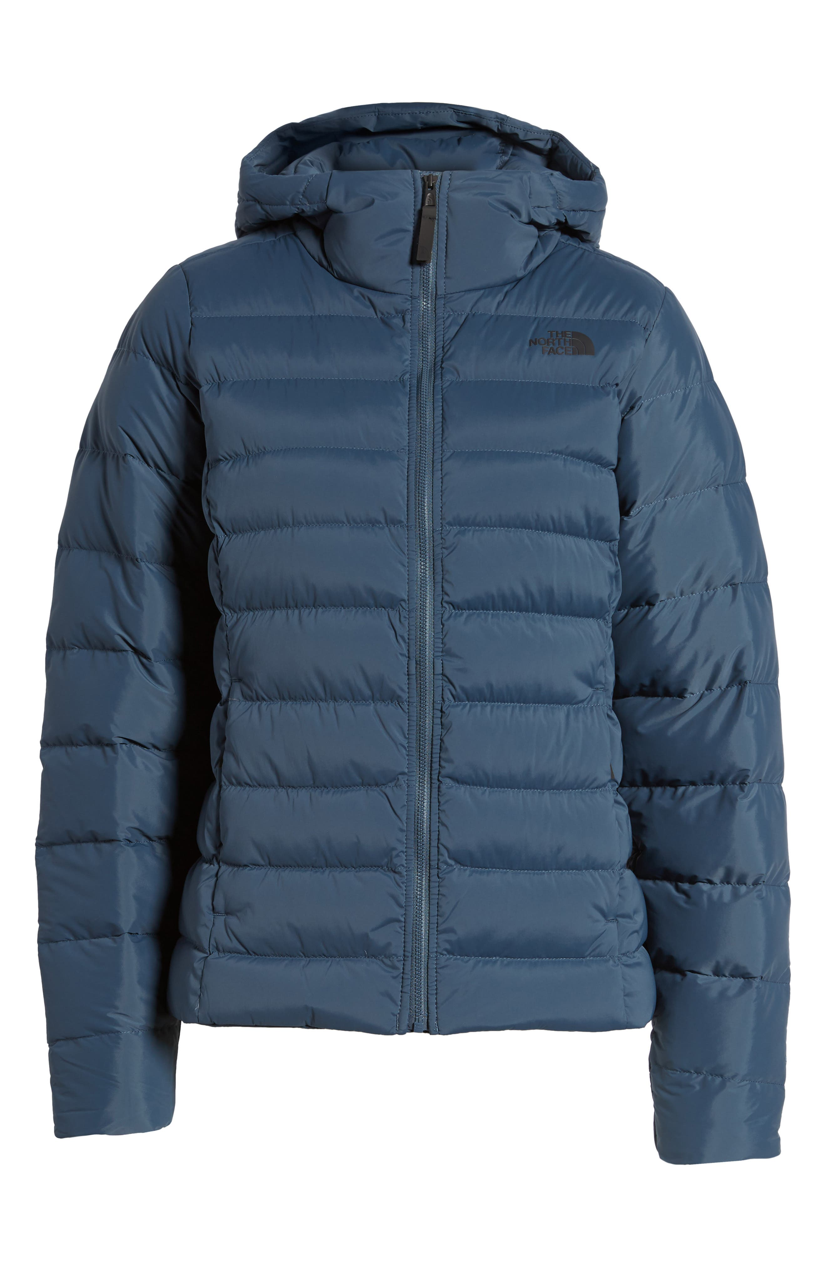 W Hooded Stretch Down Jacket,                         Main,                         color, Ink Blue