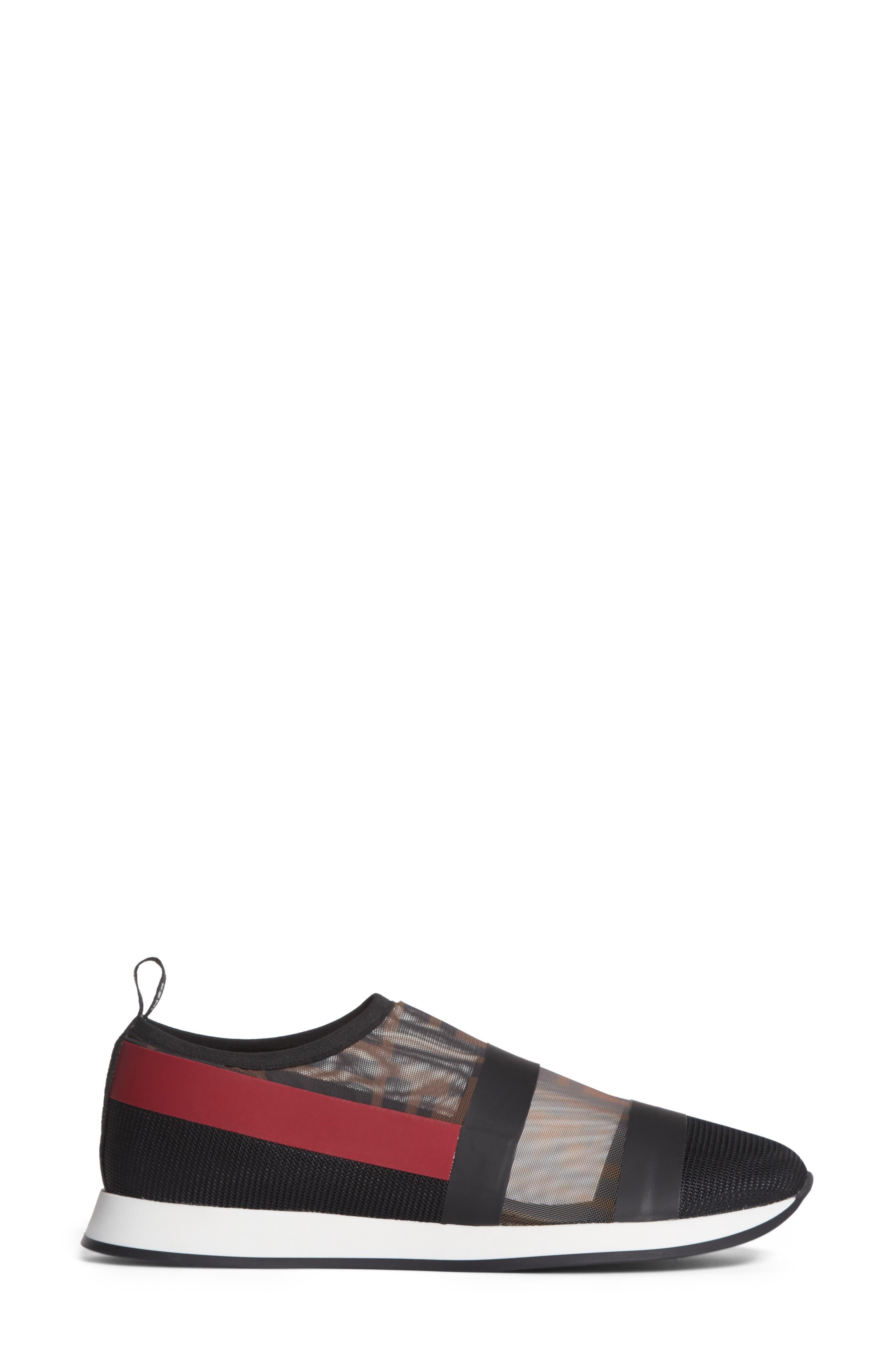 Logo Slip-On Sneaker,                             Alternate thumbnail 3, color,                             Black/ Red