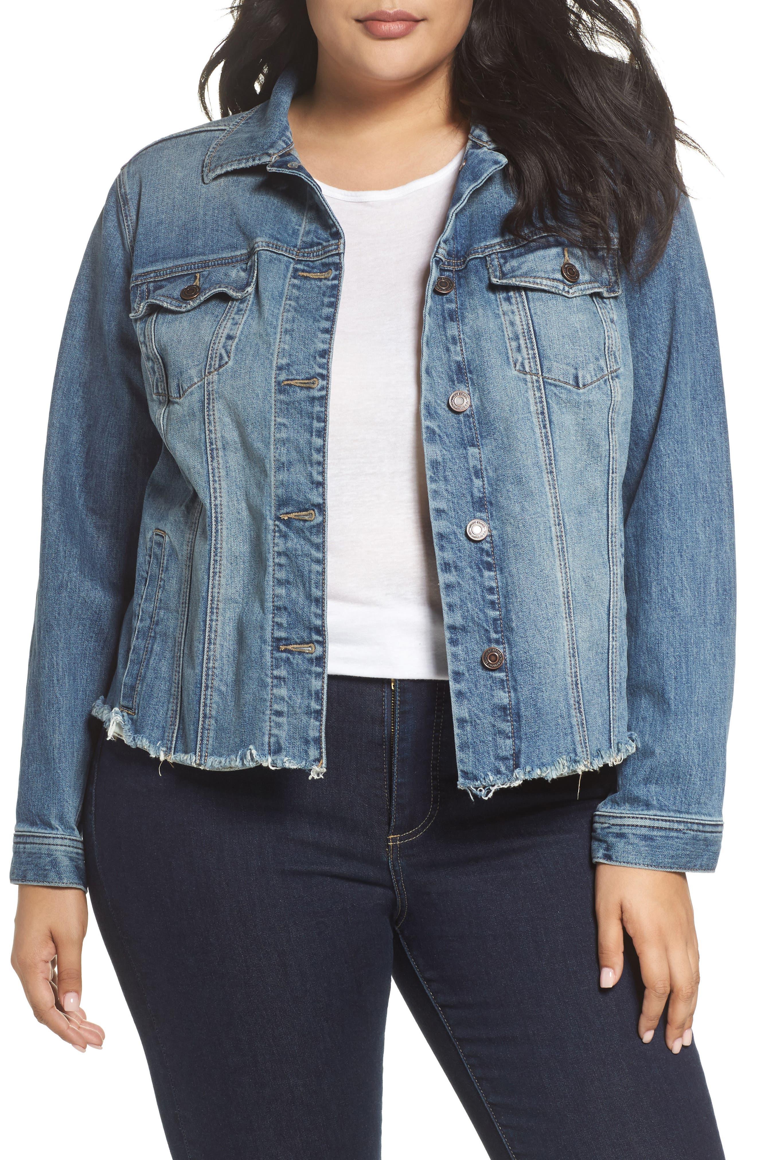 Frayed Hem Denim Jacket,                         Main,                         color, Verve Fray