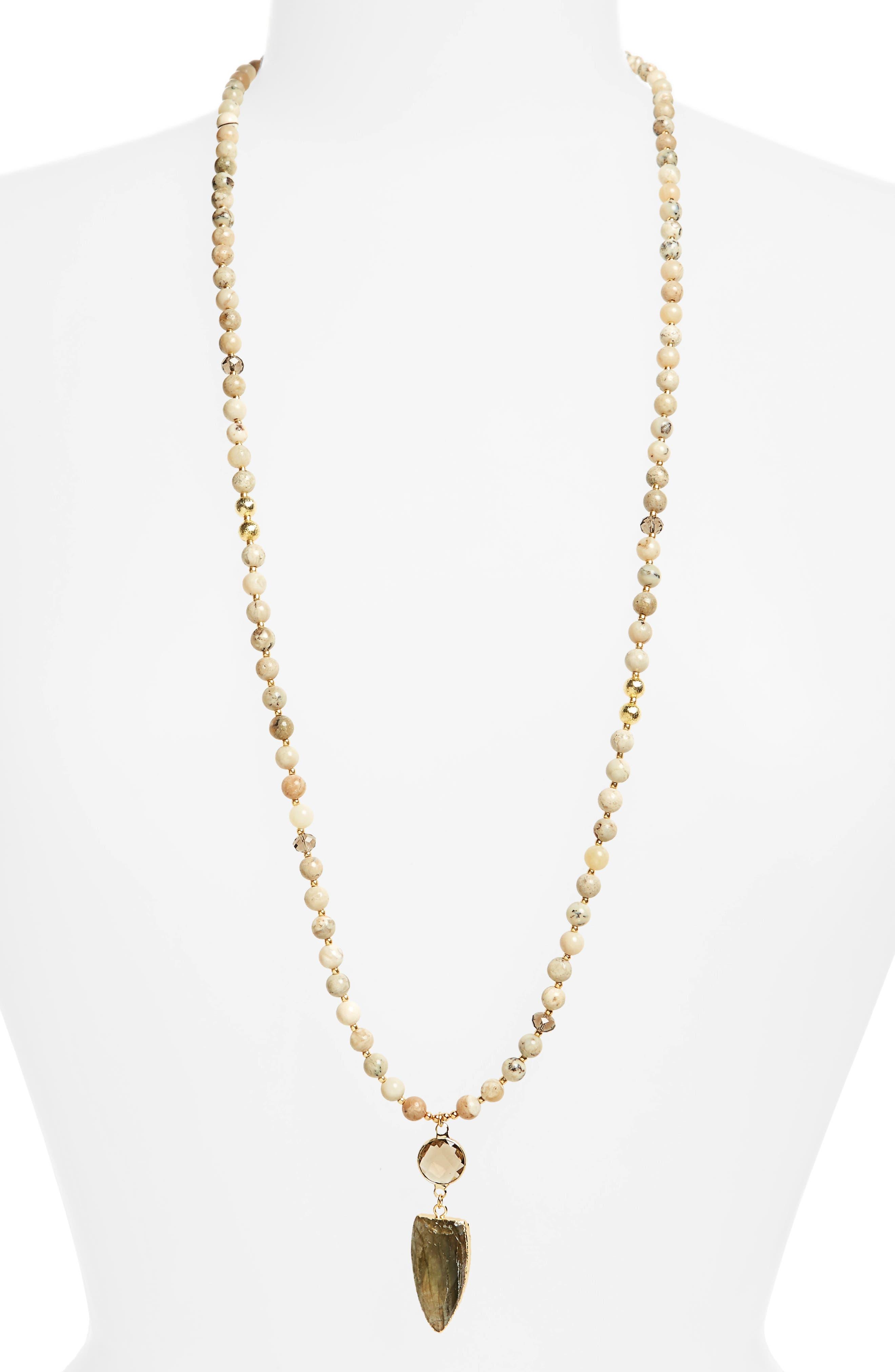 Love's Affect Sadie Semiprecious Pendant Necklace,                         Main,                         color, Beige