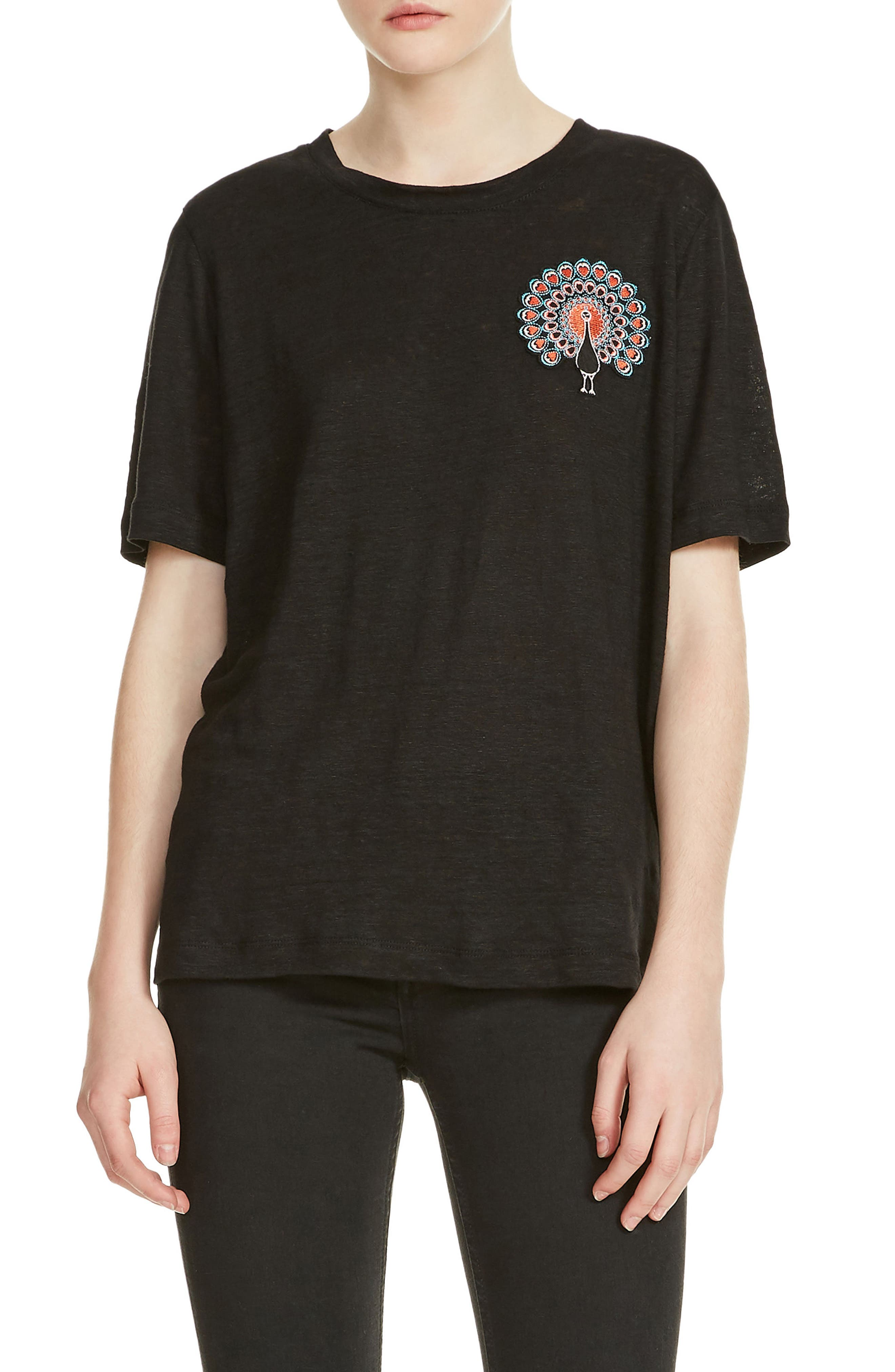 Tina Embroidery Tee,                         Main,                         color, Black 210