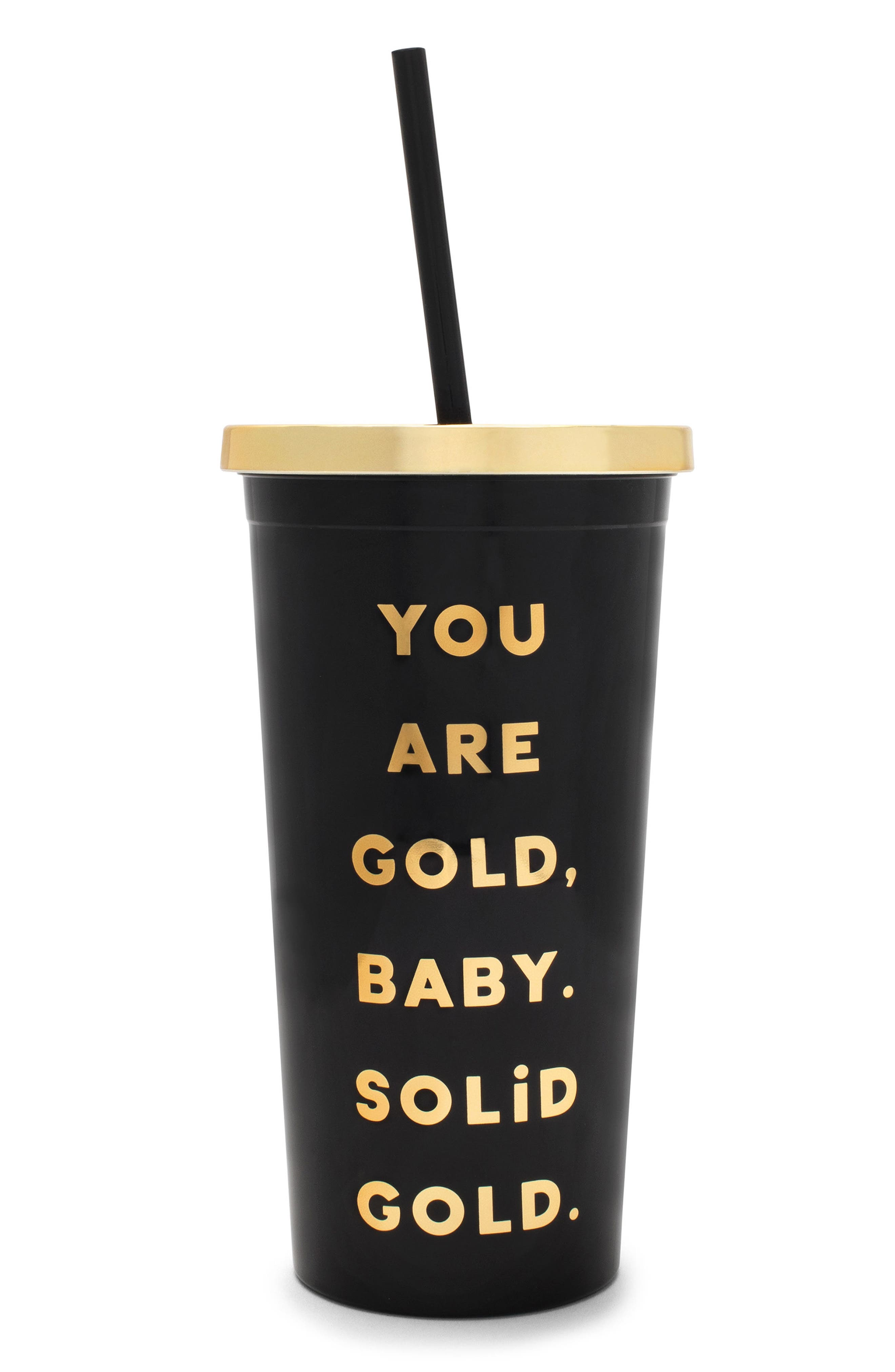 You Are Gold Sip Sip Travel Tumbler,                         Main,                         color, Black